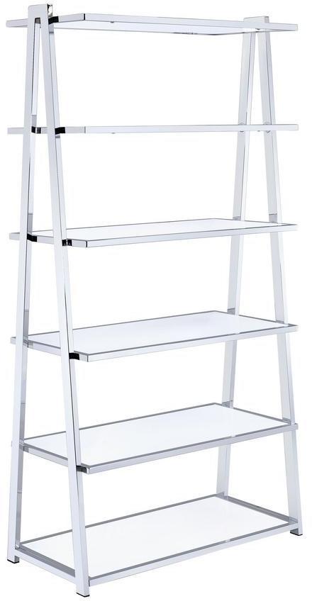 "36"" X 16"" X 71"" White High Gloss And Chrome Bookcase"