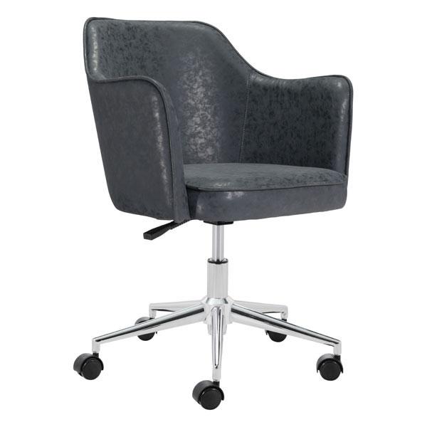 "24.4"" X 25.2"" X 30.7"" Black Vintage Office Chair"
