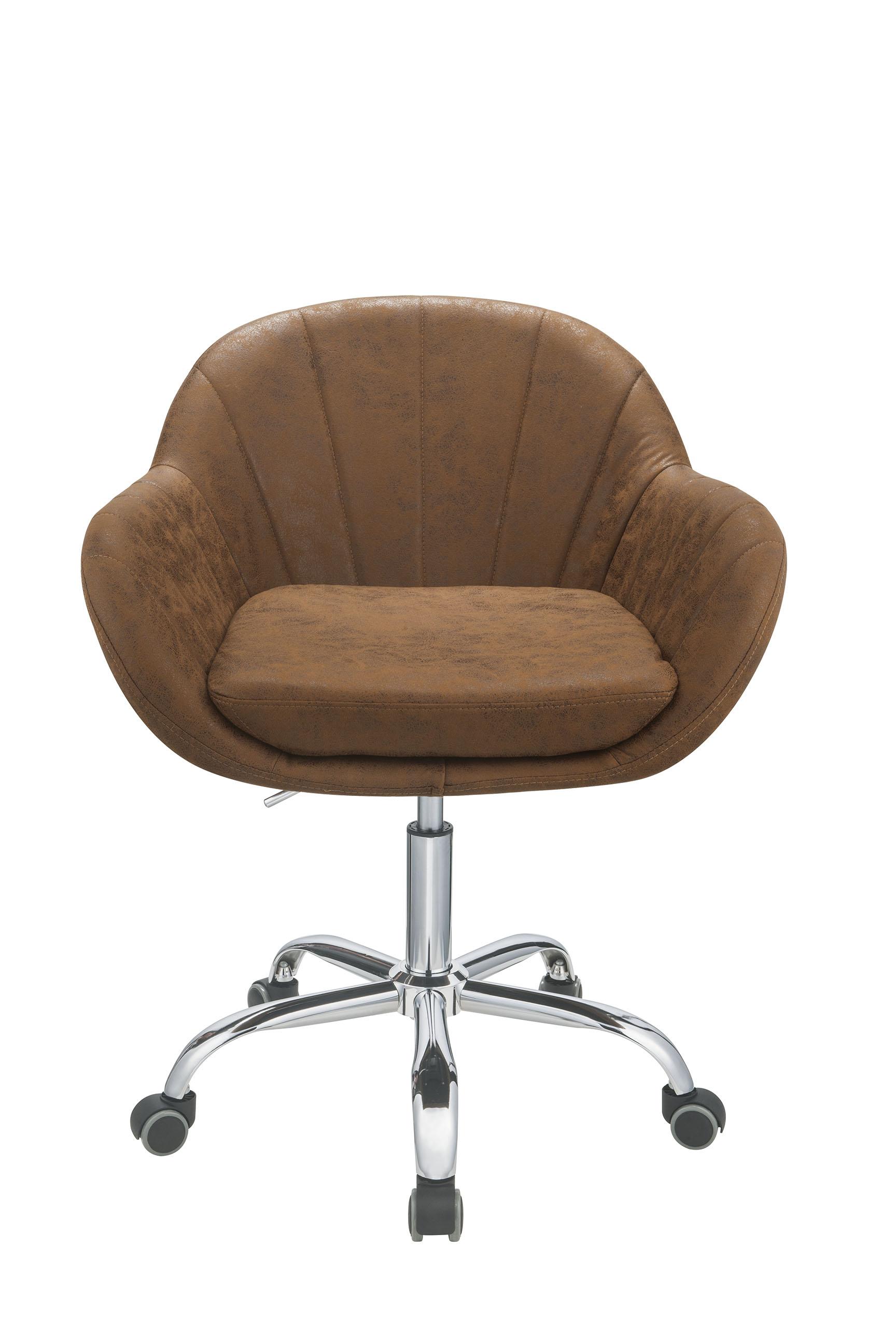 "28"" X 27"" X 31"" Brown Metal Tube Office Chair"