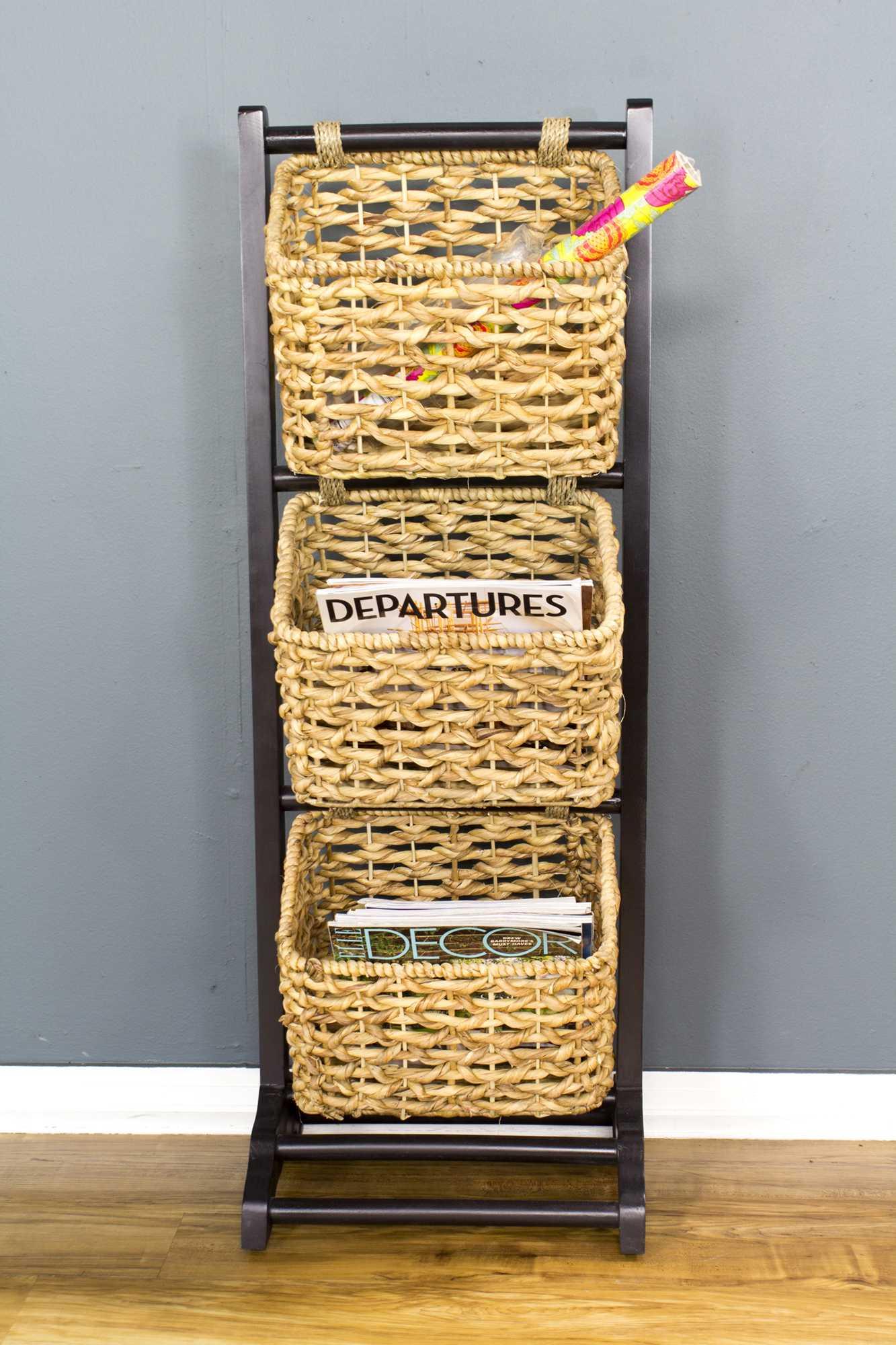 "11.8"" X 15"" X 42.25"" Brown Wood MDF Water Hyacinth Water Hyacinth Magazine Rack with Baskets"