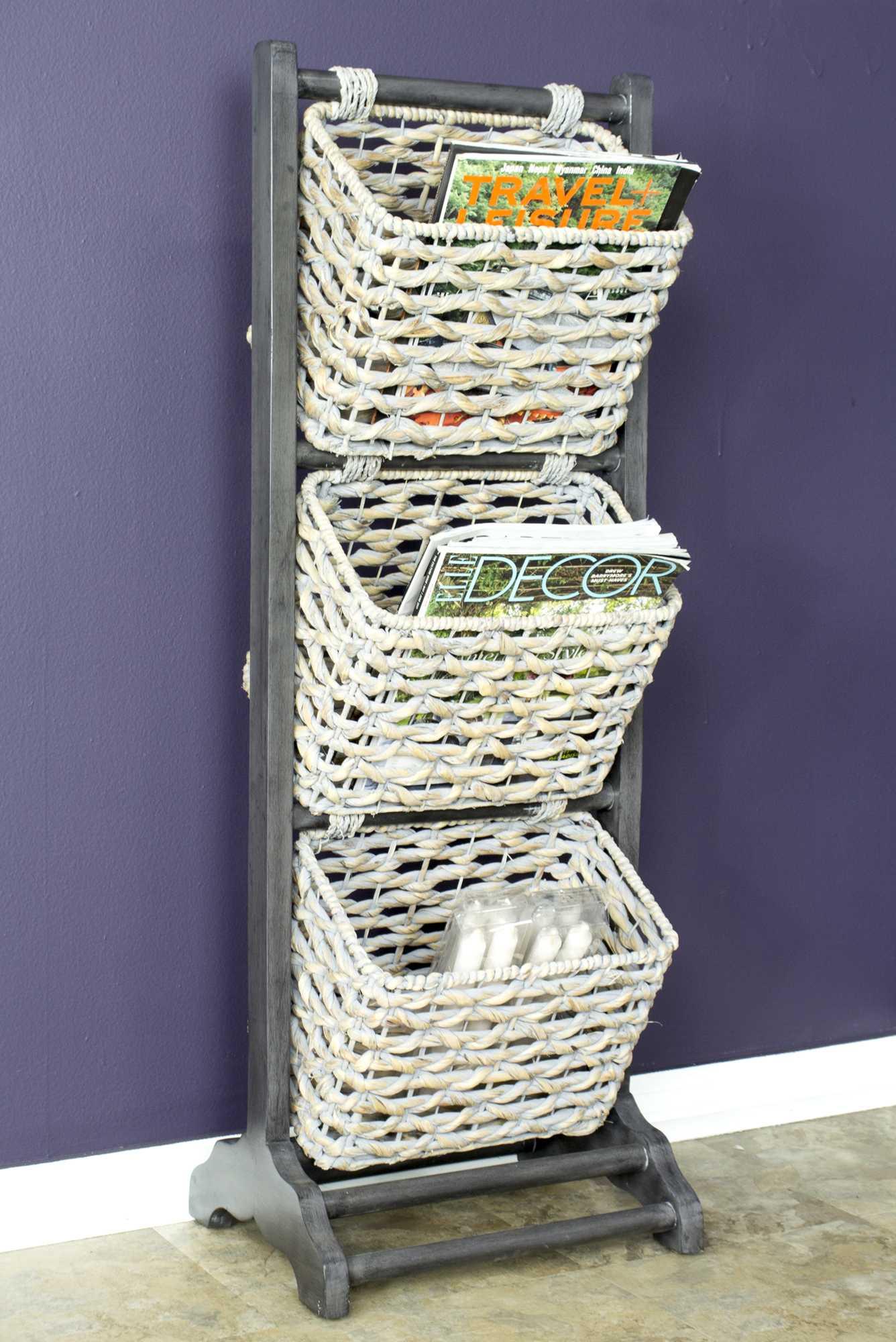 "11.8"" X 15"" X 42.25"" Grey Wood MDF Water Hyacinth Water Hyacinth Magazine Rack with Baskets"