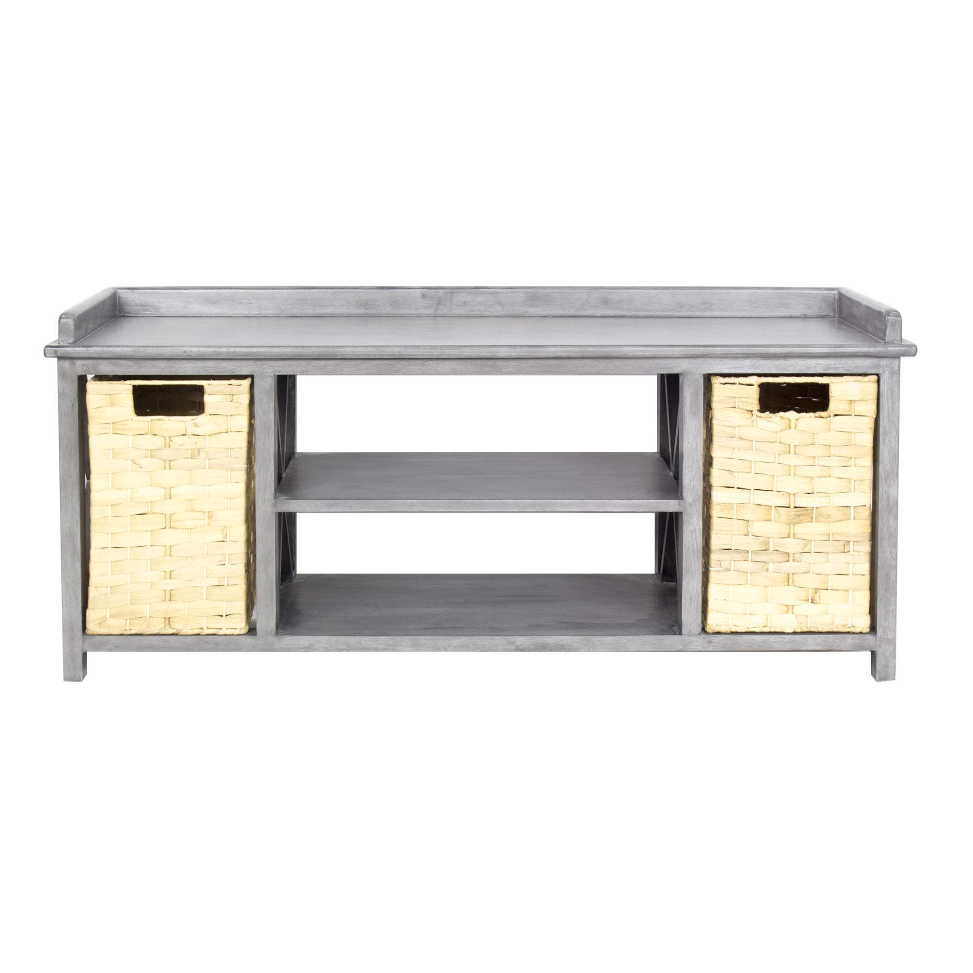 """42"""" X 14.25"""" X 18"""" Gray MDF Rattan Skin Storage Bench with Baskets"""