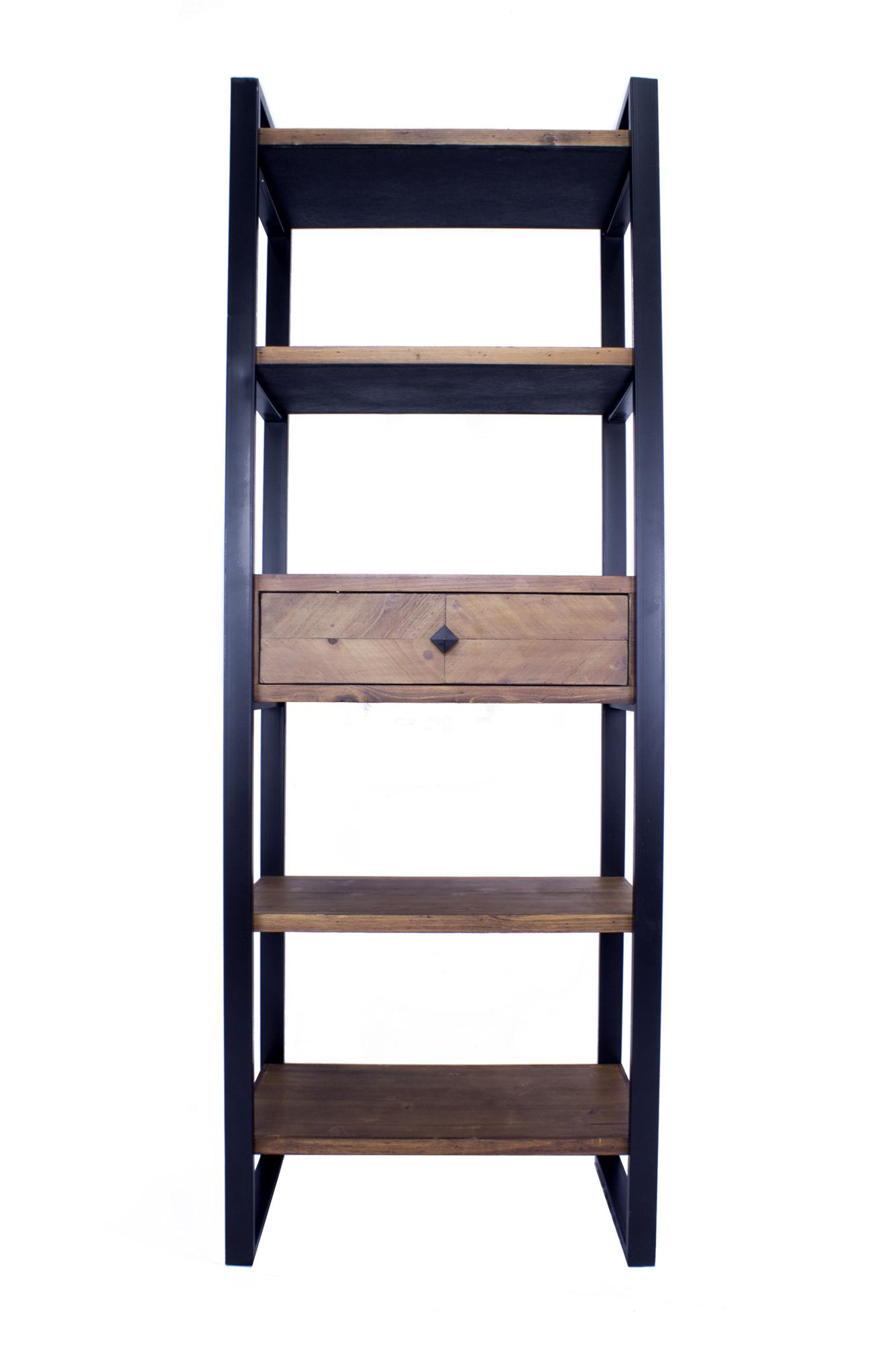 "24"" X 14.5"" X 67.25"" Natural Brown Metal Wood MDF Modern Shelf Drawer Bookcase and Display Organizer Brown"