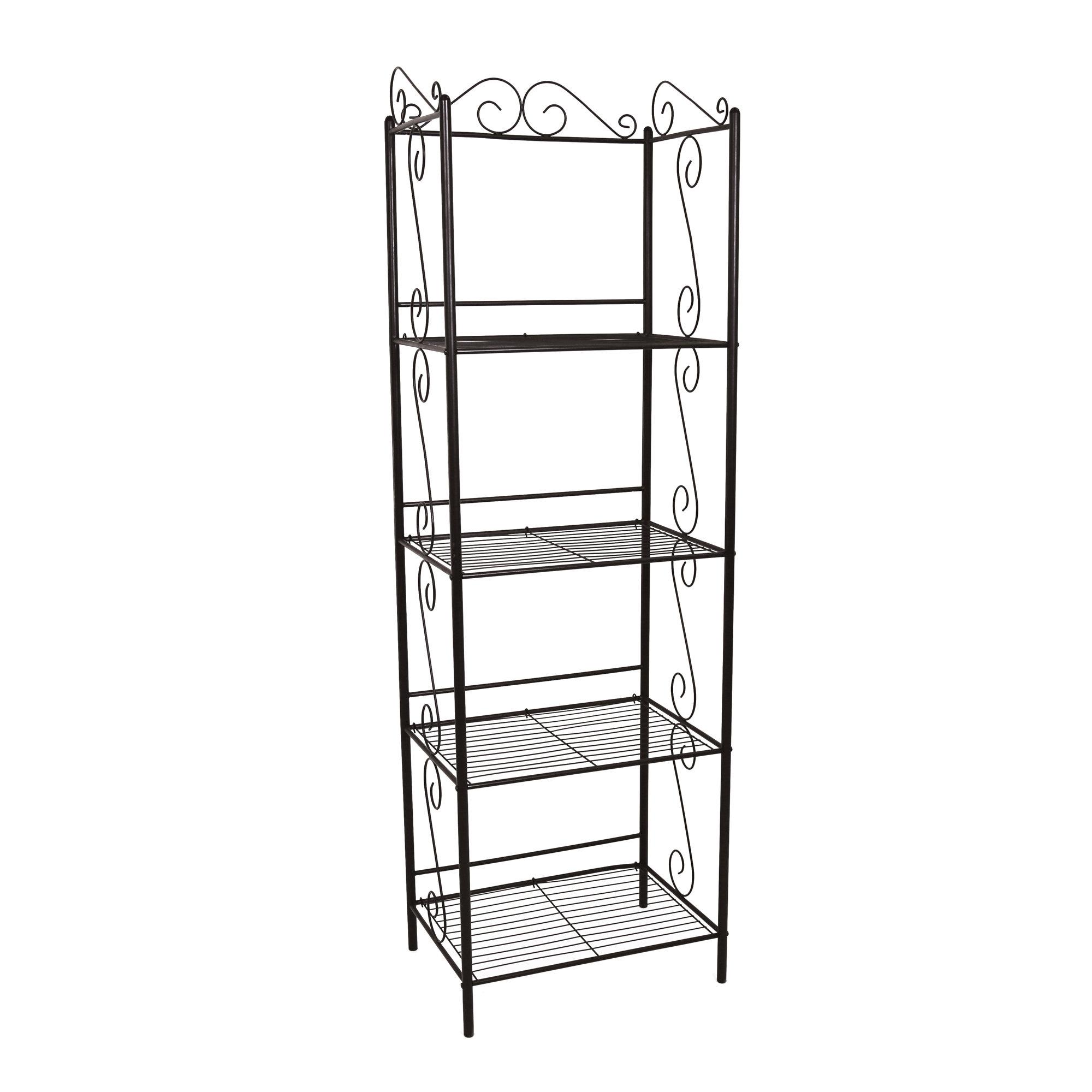 "15.25"" x 22"" x 70"" Brown Metal Shelf  Bookcase"