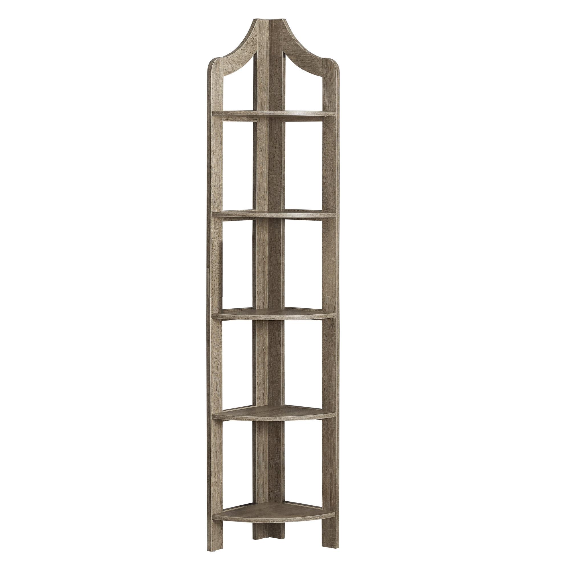 "12.25"" x 17.5"" x 71"" Dark Taupe Particle Board Corner Accent Shelf  Bookcase"