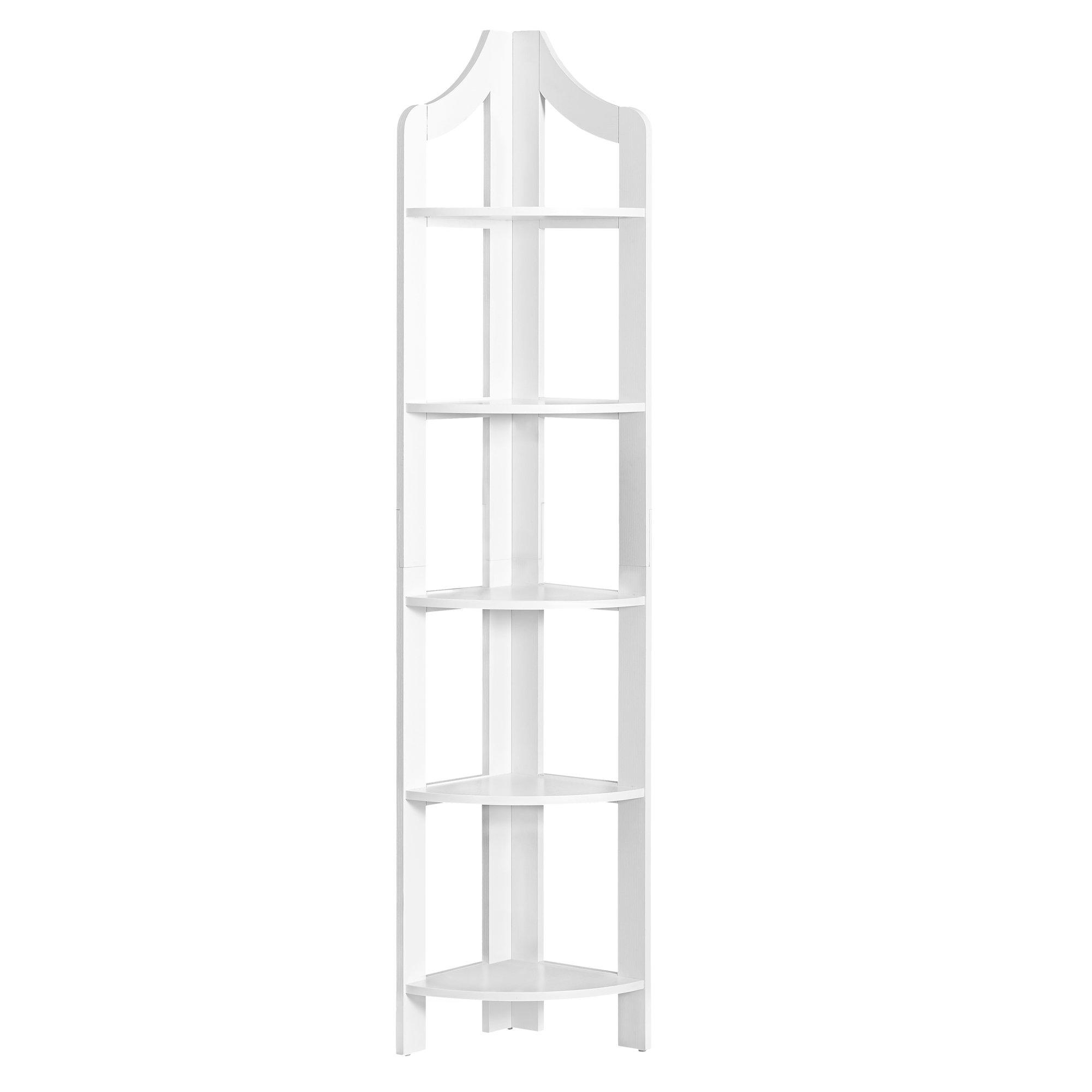 """12.25"""" x 17.5"""" x 71"""" White Particle Board Corner Accent Shelf  Bookcase"""