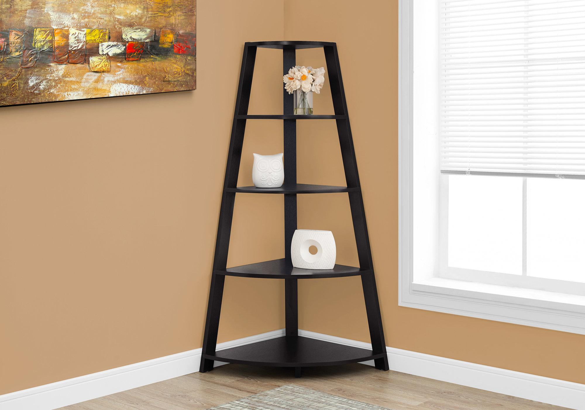 """24.25"""" x 34.25"""" x 60"""" Cappuccino  Black  Particle Board  Bookcase Corner Accent Shelf"""