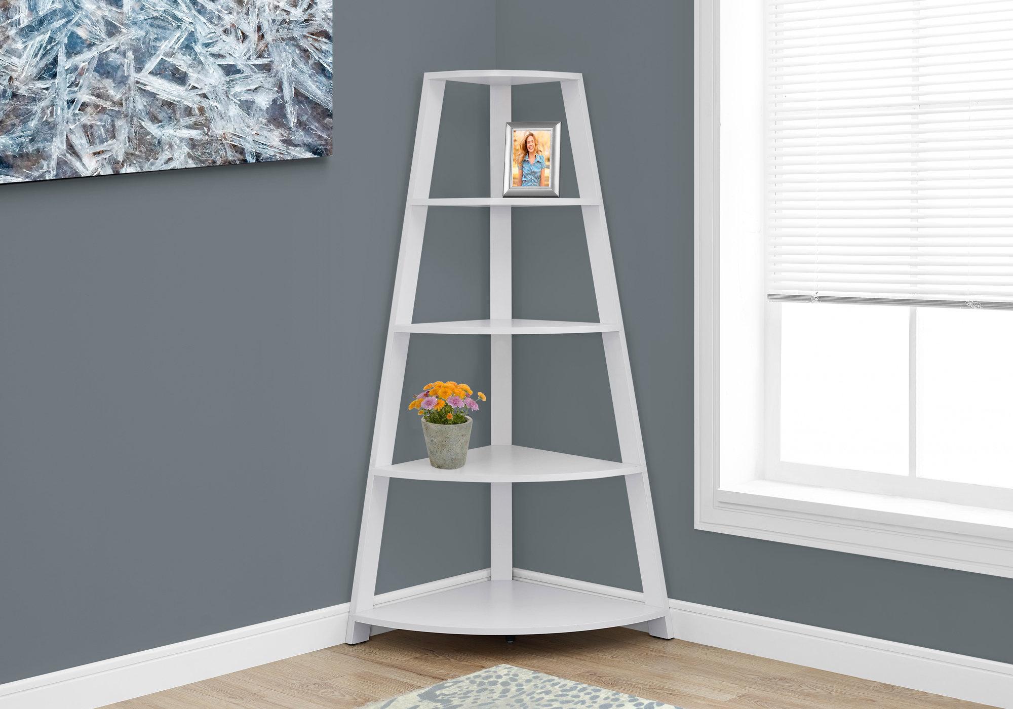 """24.25"""" x 34.25"""" x 60"""" White  Black  Particle Board  Bookcase Corner Accent Shelf"""