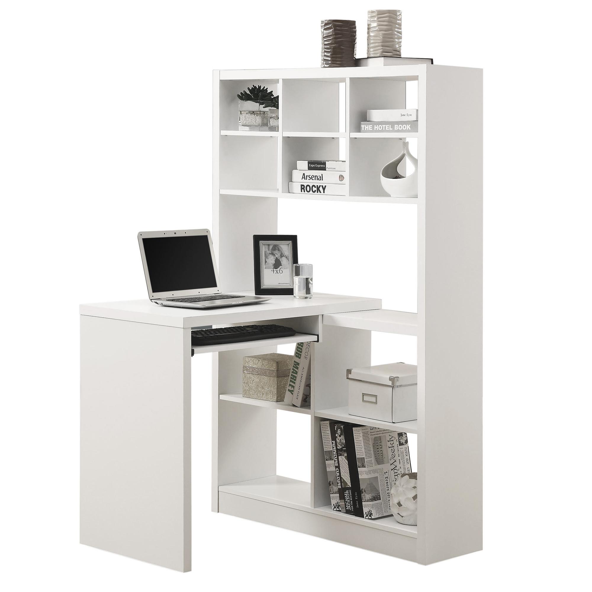 "38"" x 35.5"" x 60"" White Particle Board Hollow Core  Computer Desk"