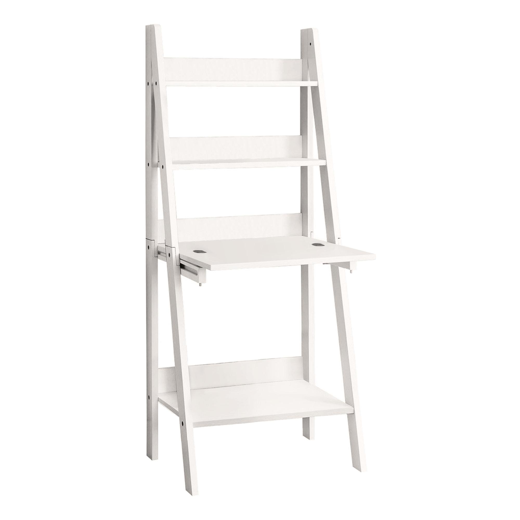"""19"""" x 25.5"""" x 61"""" White Ladder Style  Computer Desk"""