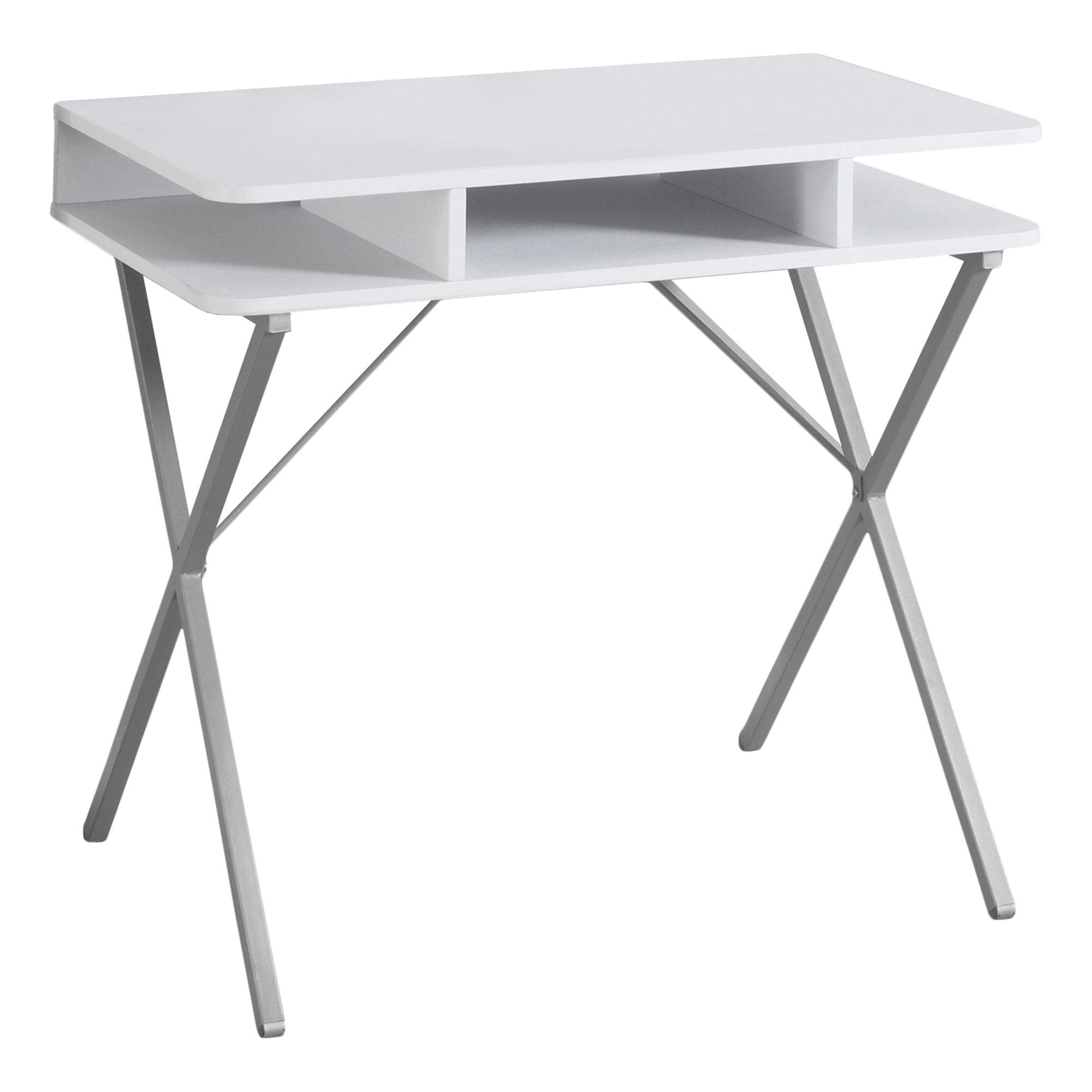 """19.75"""" x 31.5"""" x 29.75"""" White Silver Metal  Computer Desk"""
