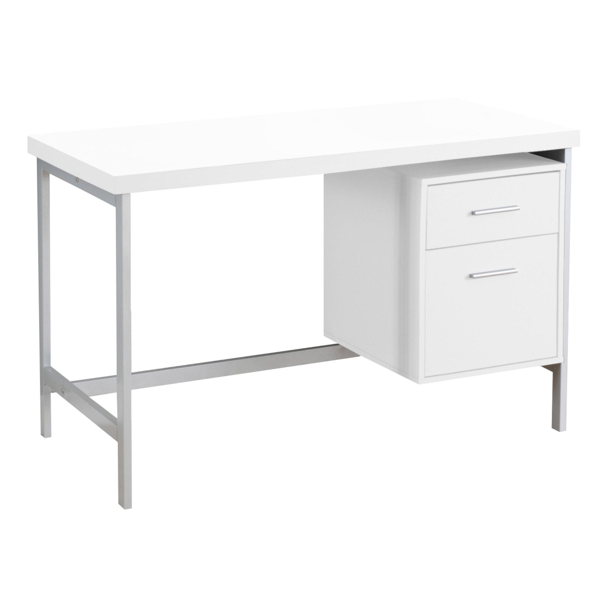 "23.75"" x 47.25"" x 30.75"" White Silver Particle Board Hollow Core Metal  Computer Desk"