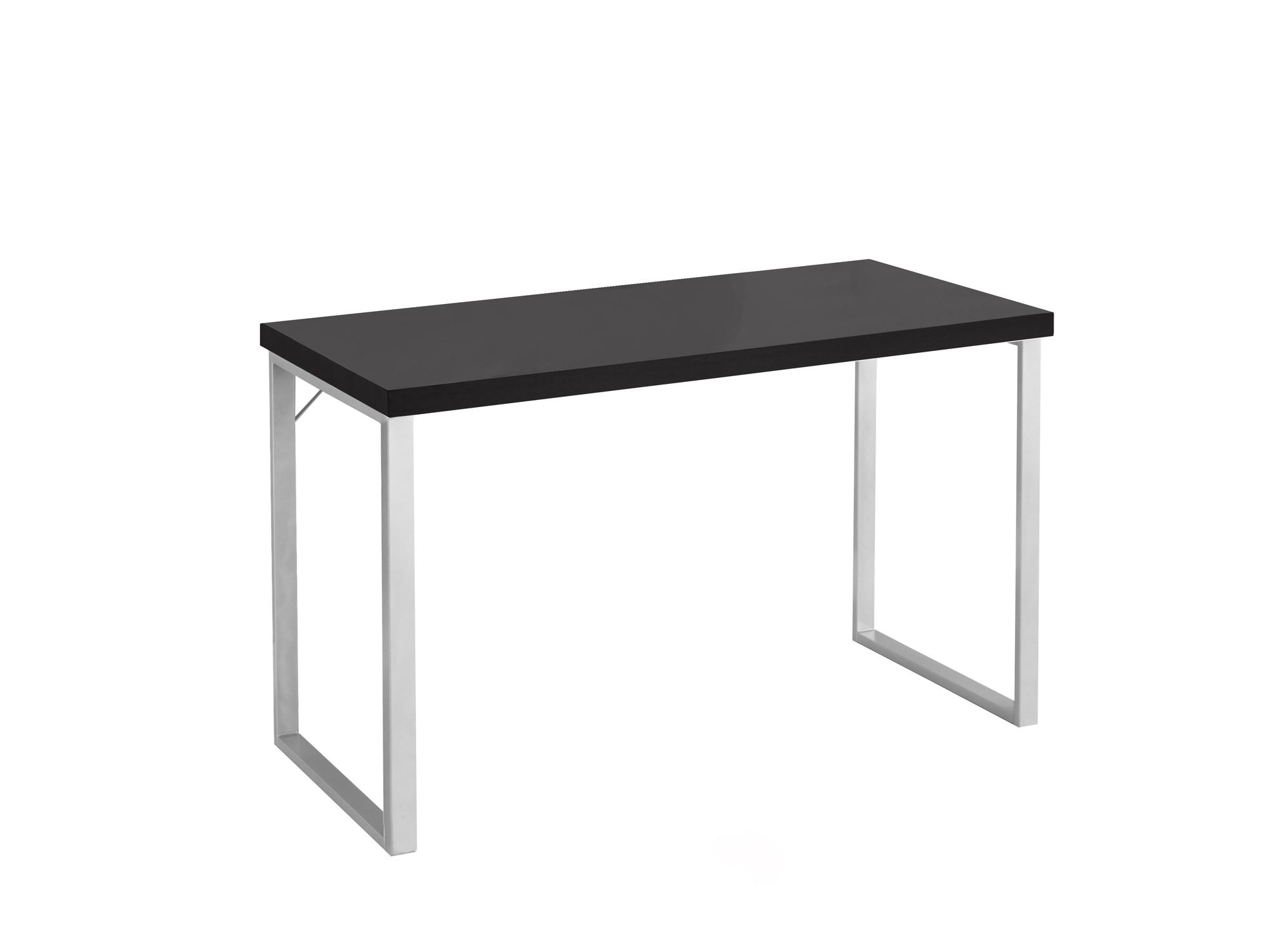"23.75"" x 47.25"" x 30"" Cappuccino Silver Particle Board Hollow Core Metal  Computer Desk"