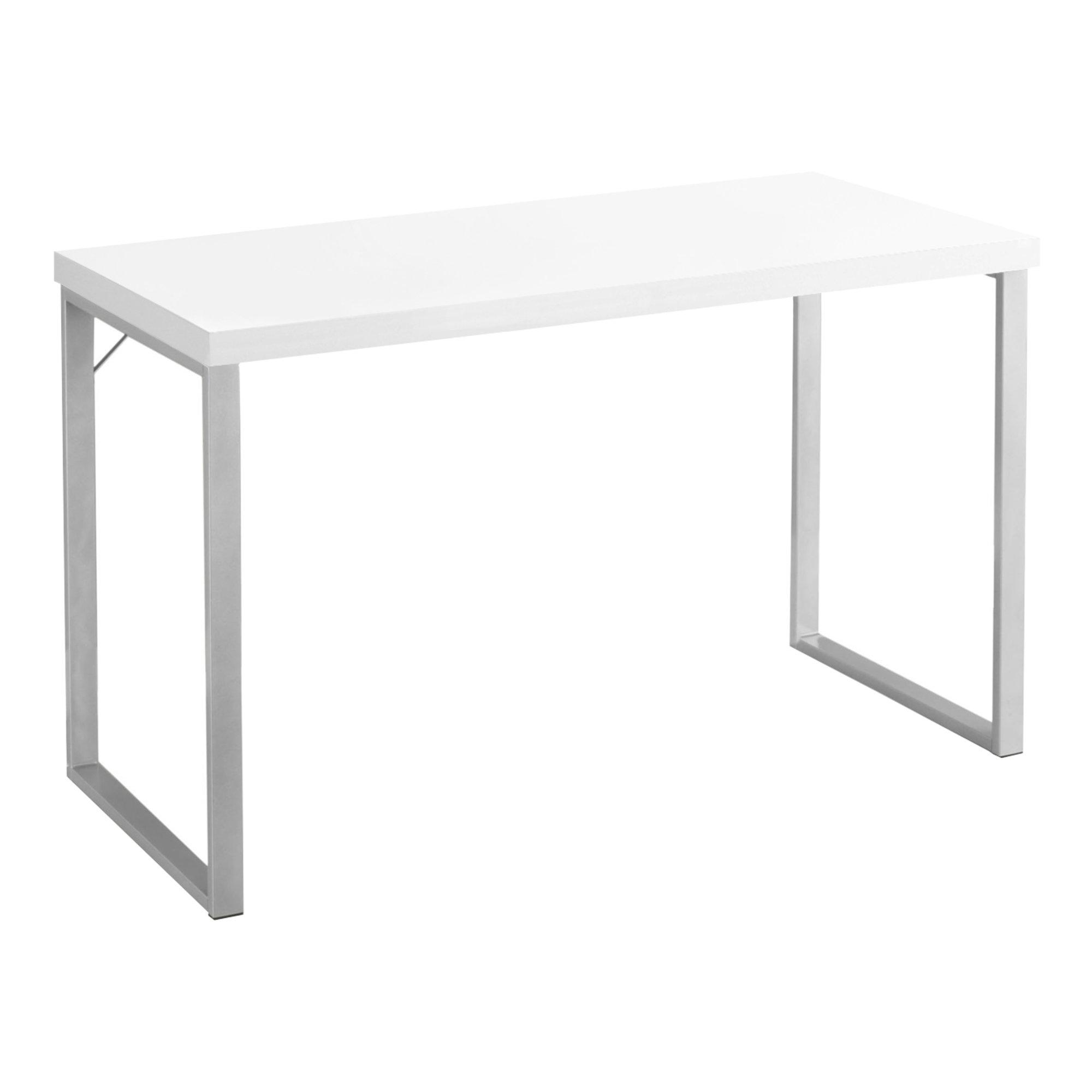 "23.75"" x 47.25"" x 30"" White Silver Particle Board Hollow Core Metal  Computer Desk"
