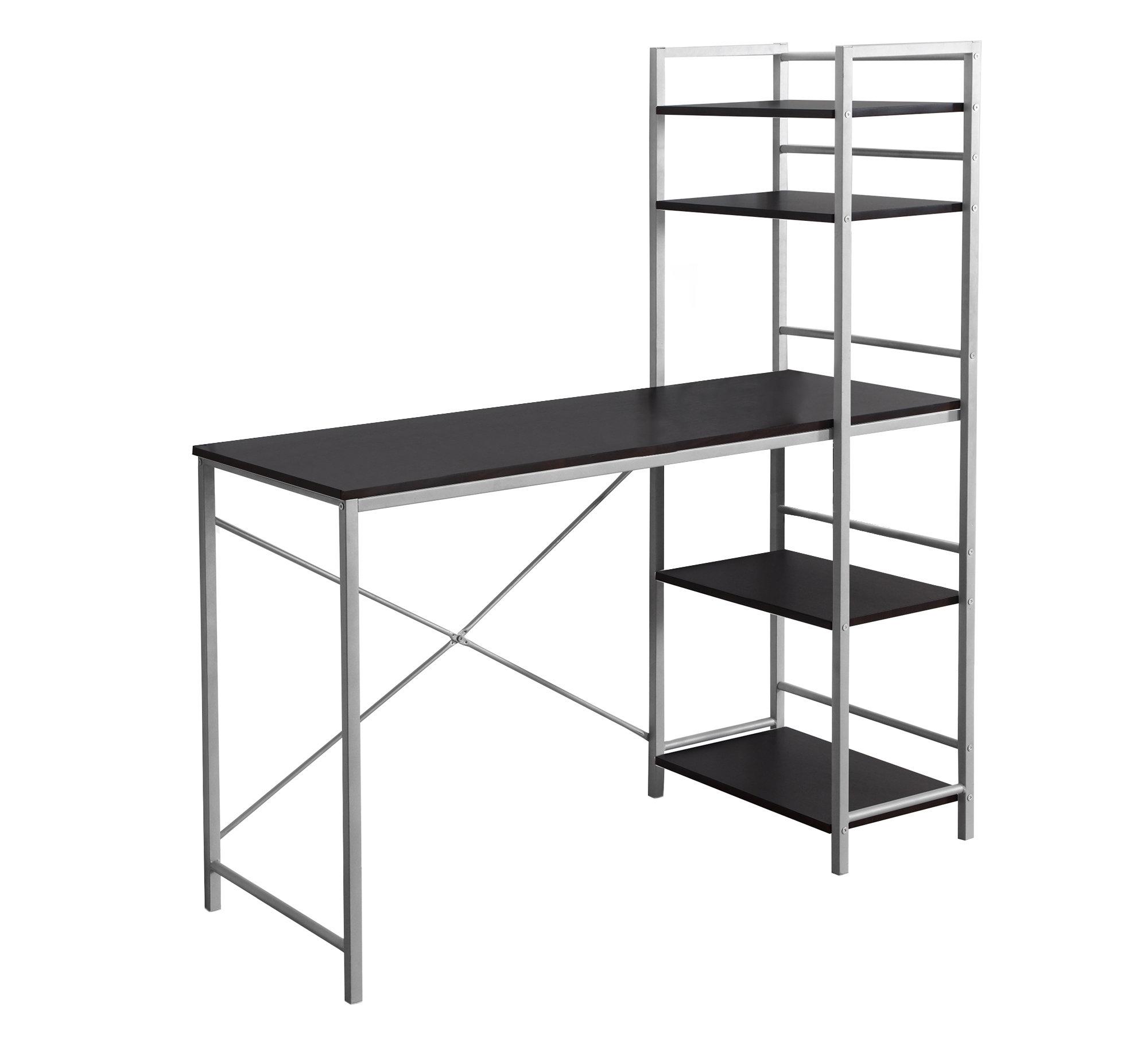 "18.5"" x 47.25"" x 55"" Cappuccino Silver Mdf Metal  Computer Desk"