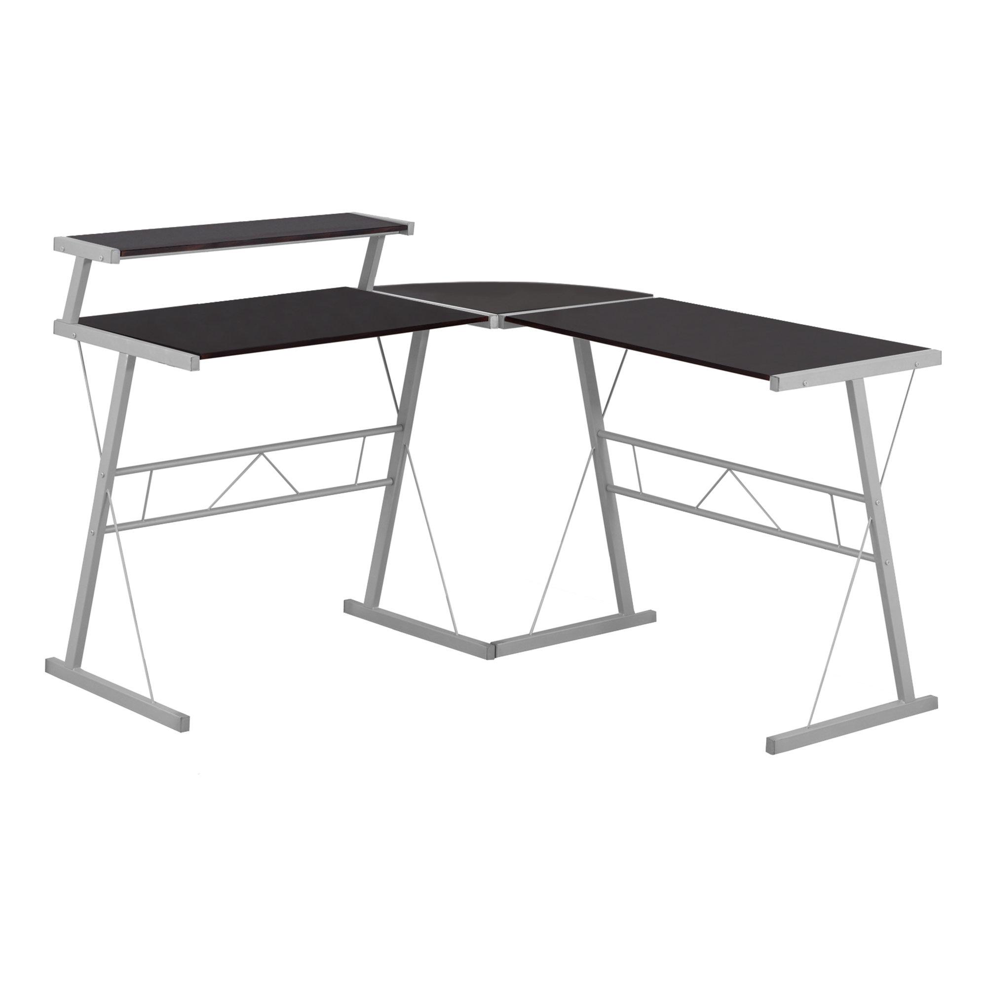 "18.25"" x 48.25"" x 36.75"" Cappuccino Silver Metal  Computer Desk"