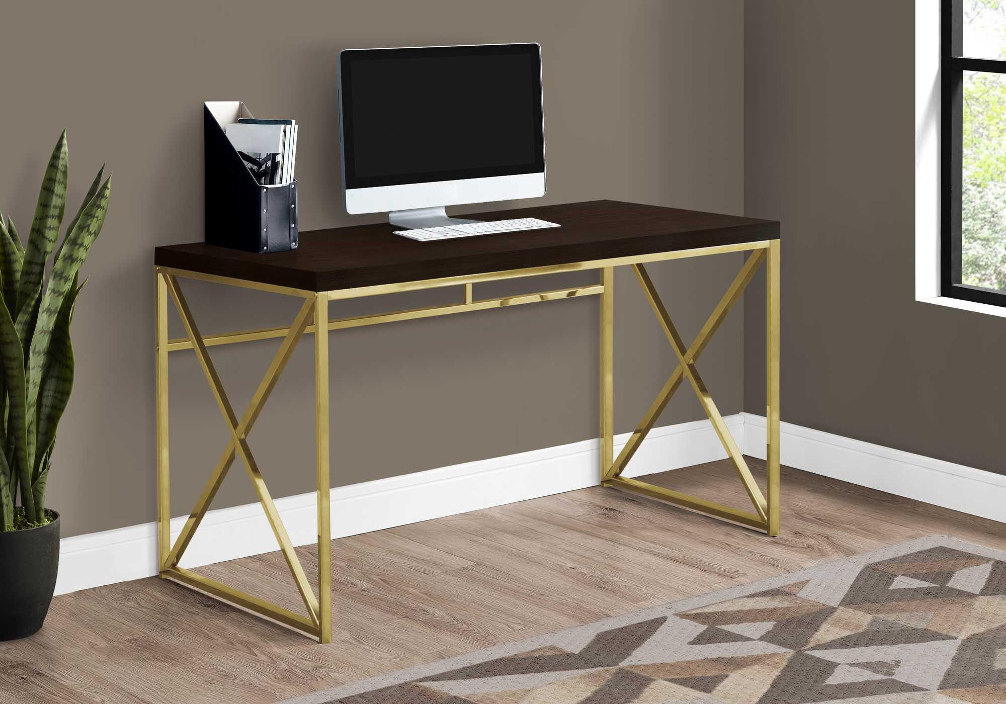 Modern Gold and Walnut Finish Computer Desk