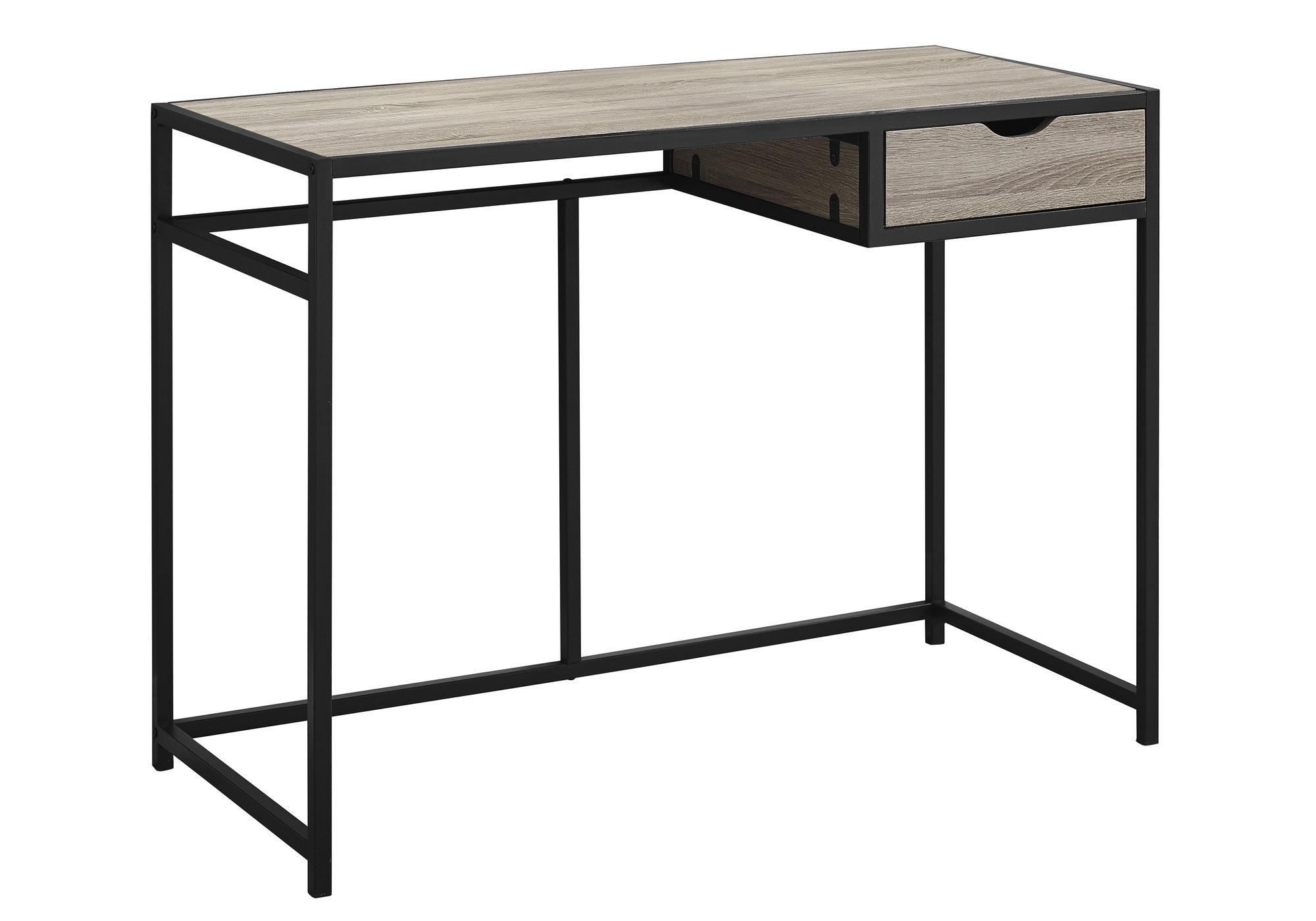 "20"" x 42.25"" x 30"" Dark Taupe Black Mdf Metal  Computer Desk"