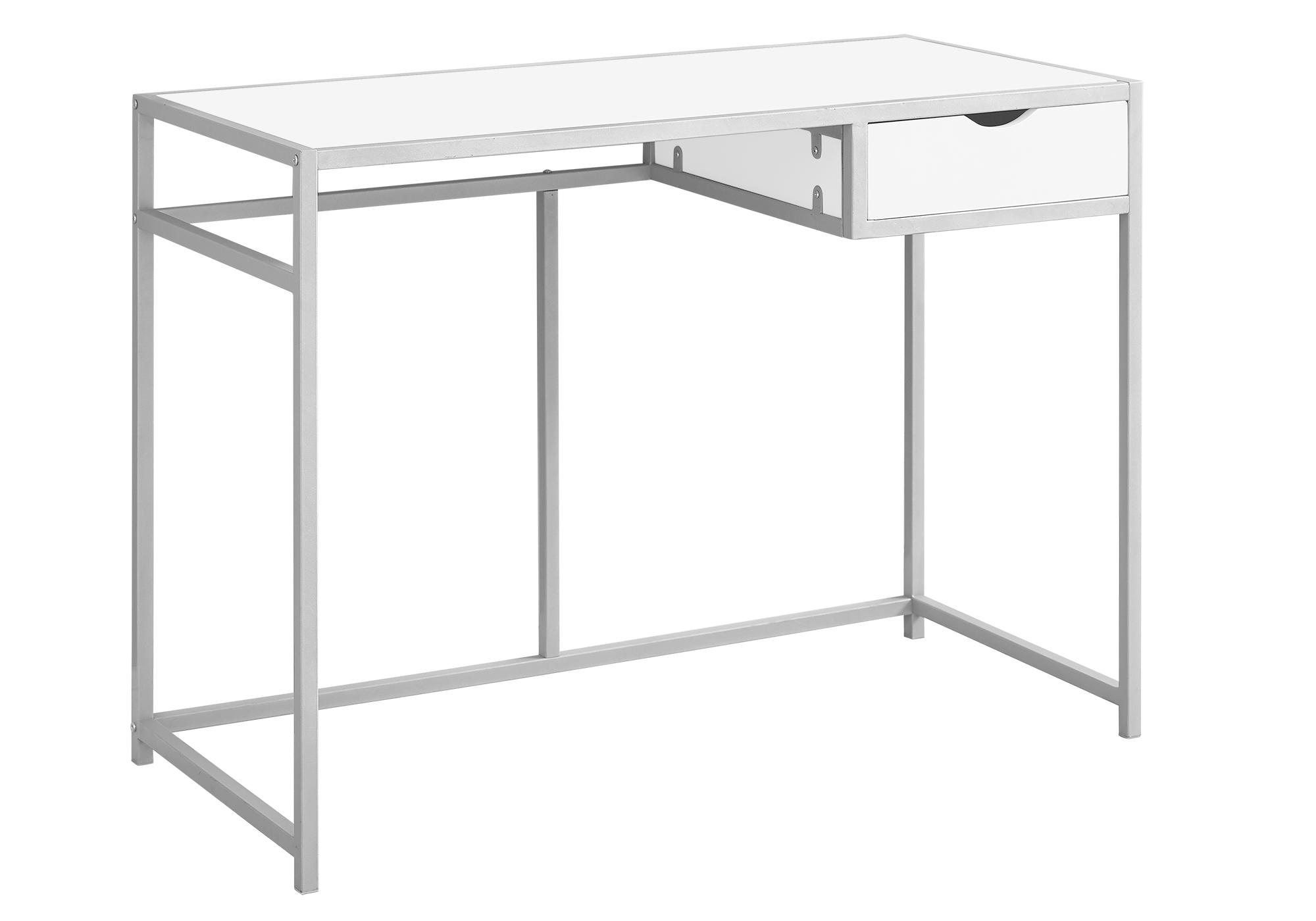 "20"" x 42.25"" x 30"" White Silver Mdf Metal  Computer Desk"