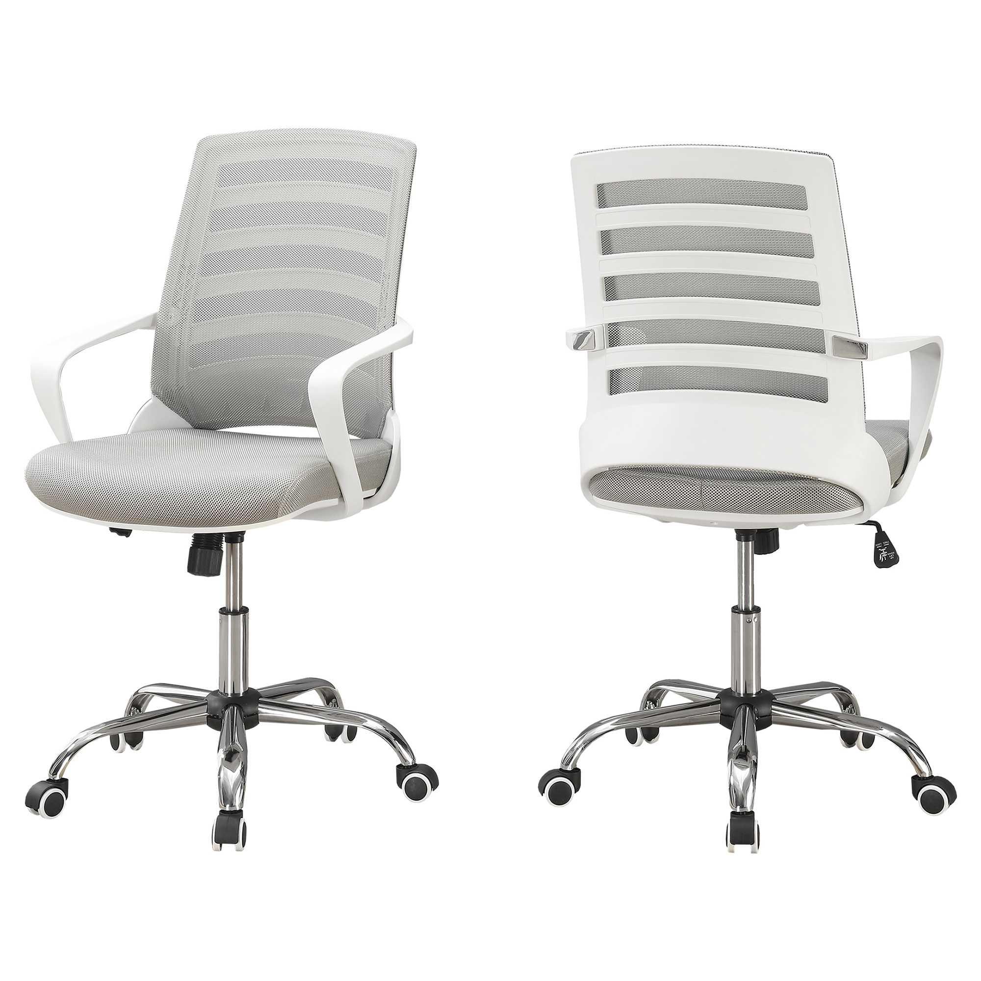 "24.25"" x 24"" x 39"" White Grey Foam Metal Nylon  Multi Position Office Chair"