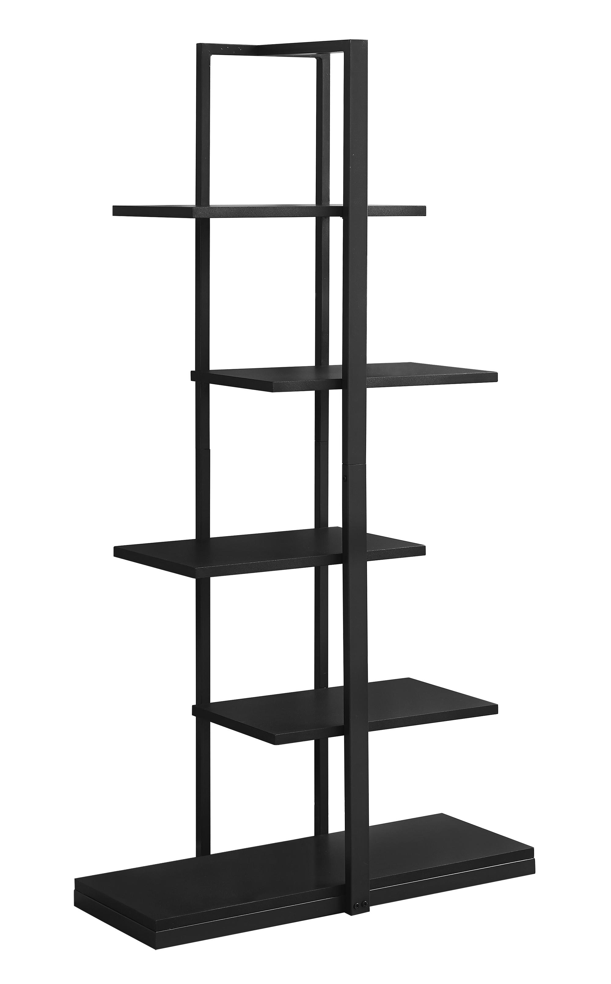 """13"""" x 32"""" x 60"""" Black  Mdf  Metal   Bookshelf"""