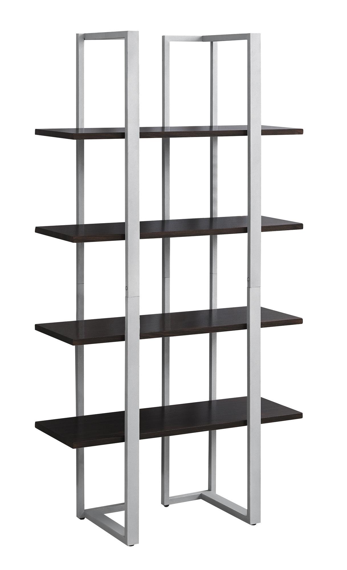 "13.25"" x 32"" x 60"" Cappuccino Silver Mdf Metal  Bookshelf"