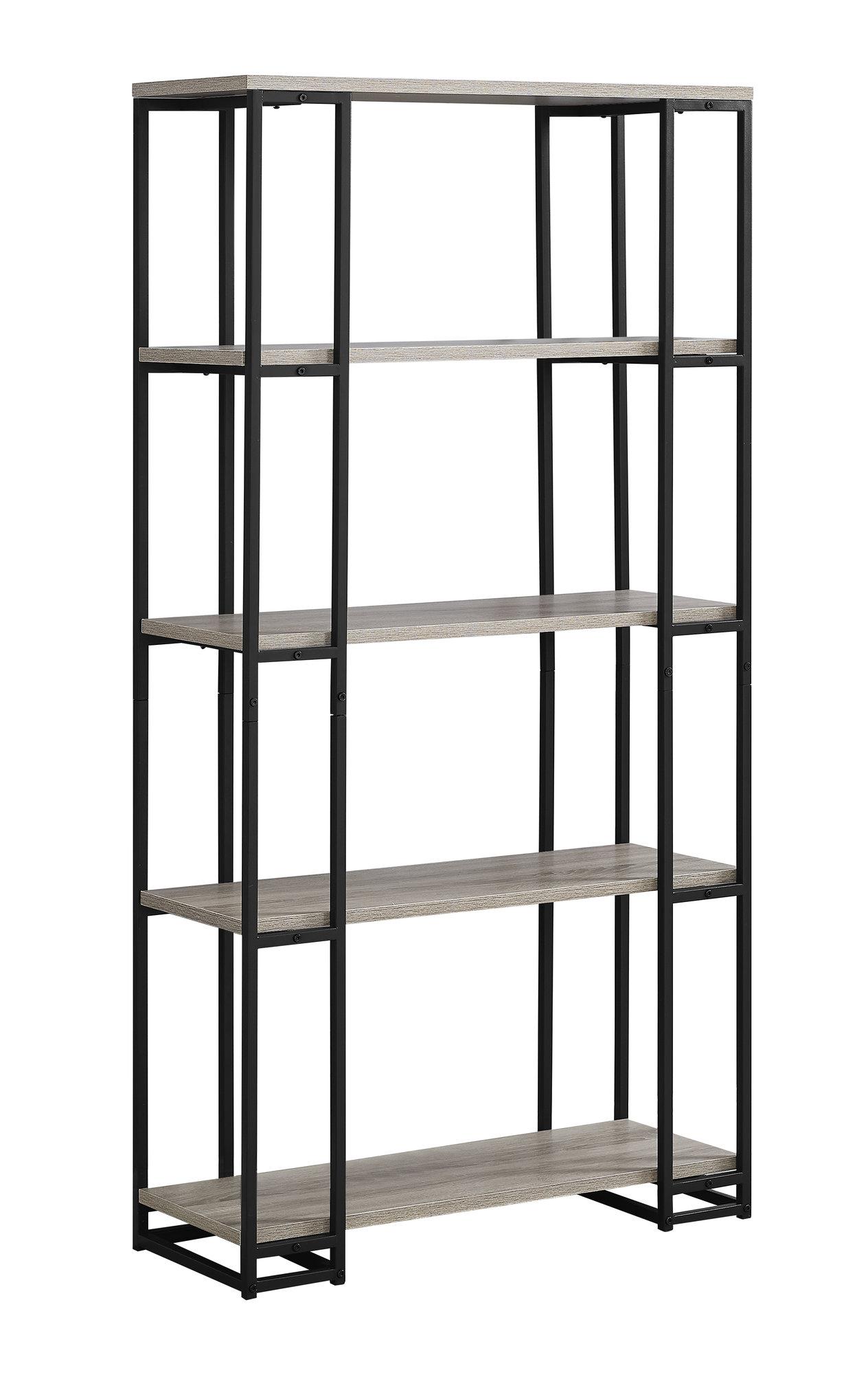 "12.5"" x 32"" x 62"" Dark Taupe Black Mdf Metal  Bookcase"