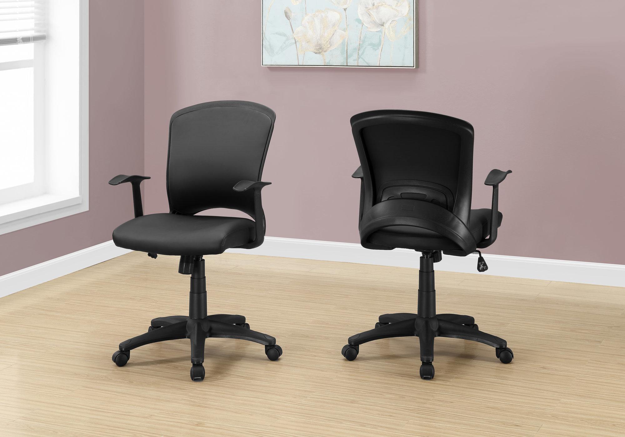 "23.75"" x 24.5"" x 74.75"" Black  Foam  Metal  Nylon  Office Chair"