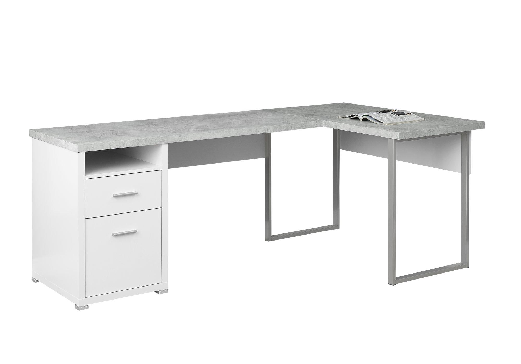 "47"" x 78"" x 30"" White  Grey  Silver  Particle Board  HollowCore  Metal  Computer Desk"