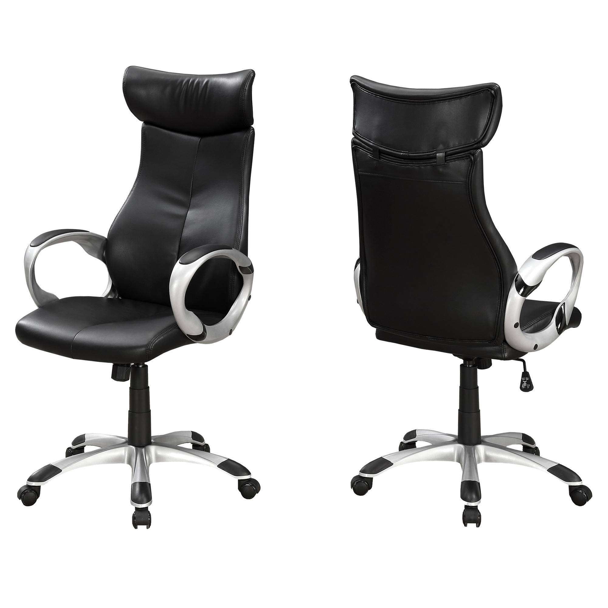 "26"" x 25.5"" x 99"" Black Silver Foam Metal  High Back Office Chair"