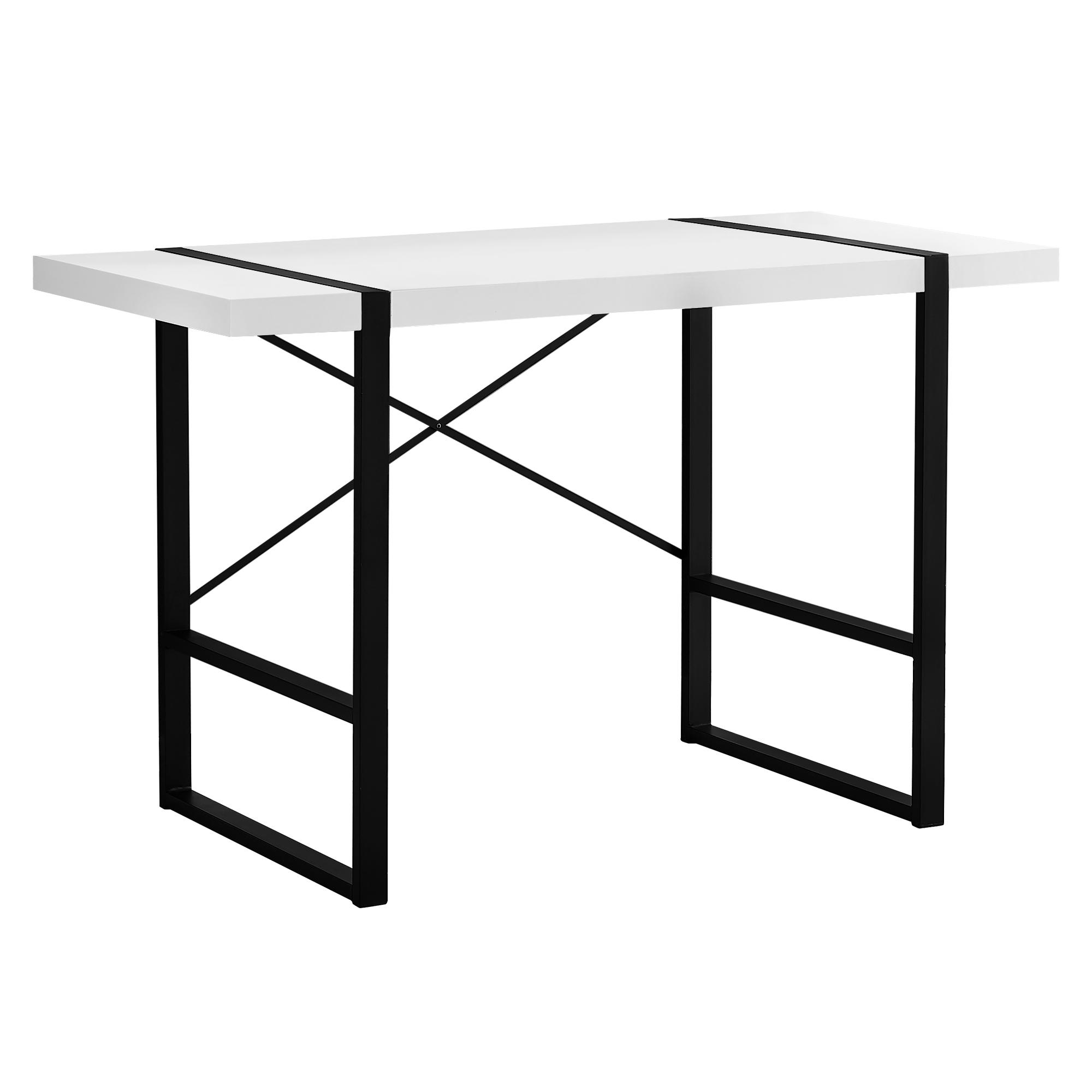"23.75"" x 49"" x 30"" White Black Particle Board Hollow Core Metal  Computer Desk"