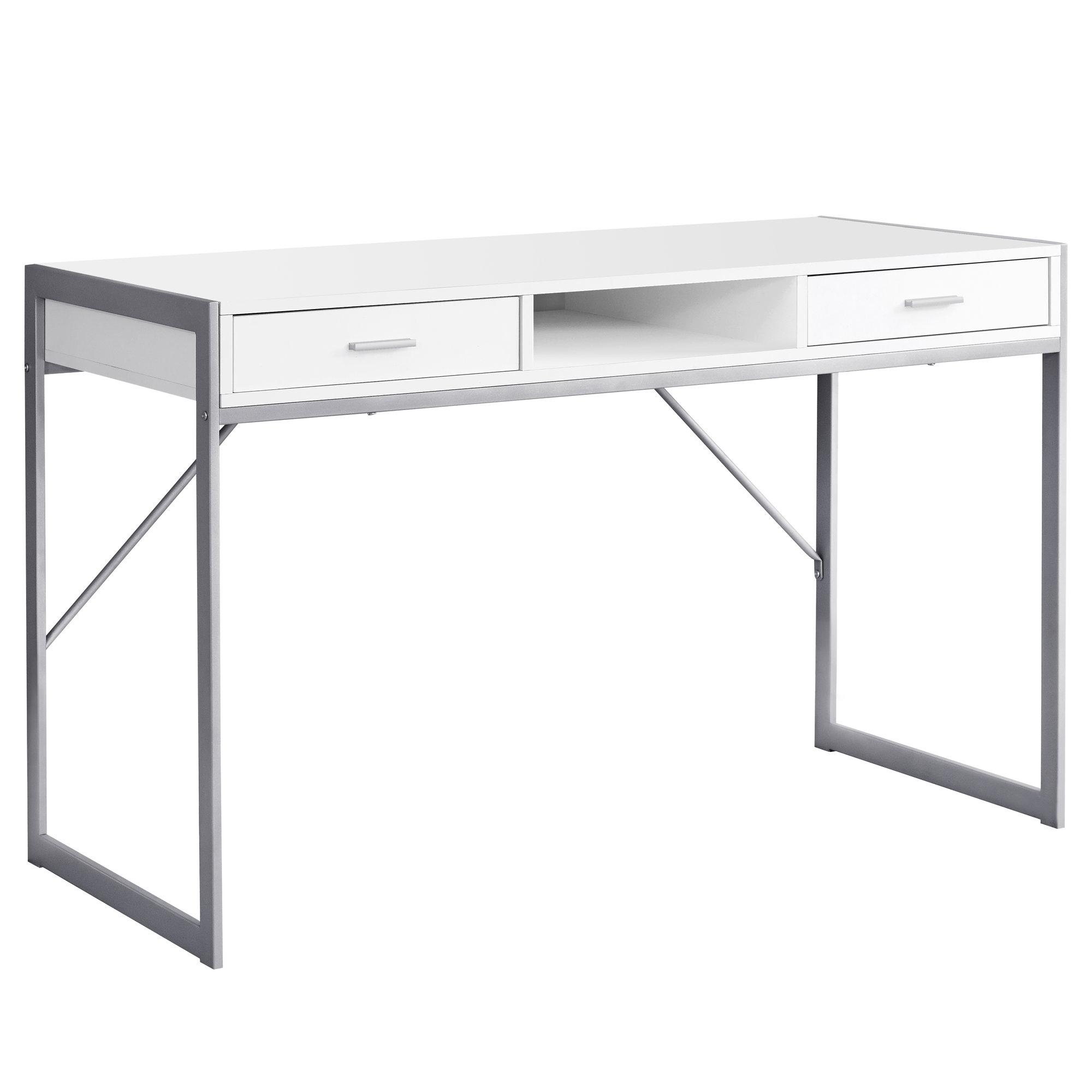 """22"""" x 48"""" x 30"""" White  Silver  Metal  Computer Desk"""
