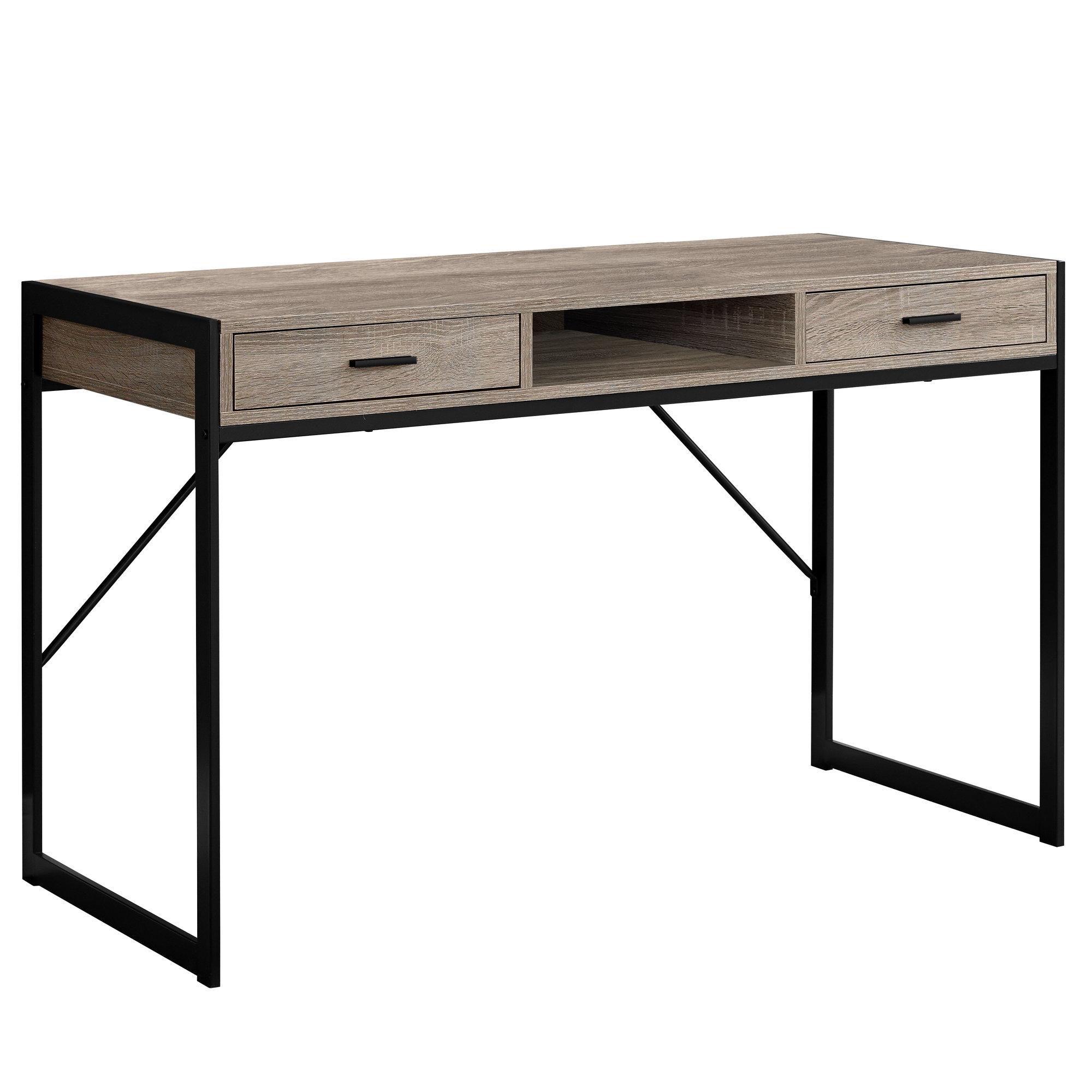 "22"" x 48"" x 30"" Dark Taupe  Black  Metal  Computer Desk"