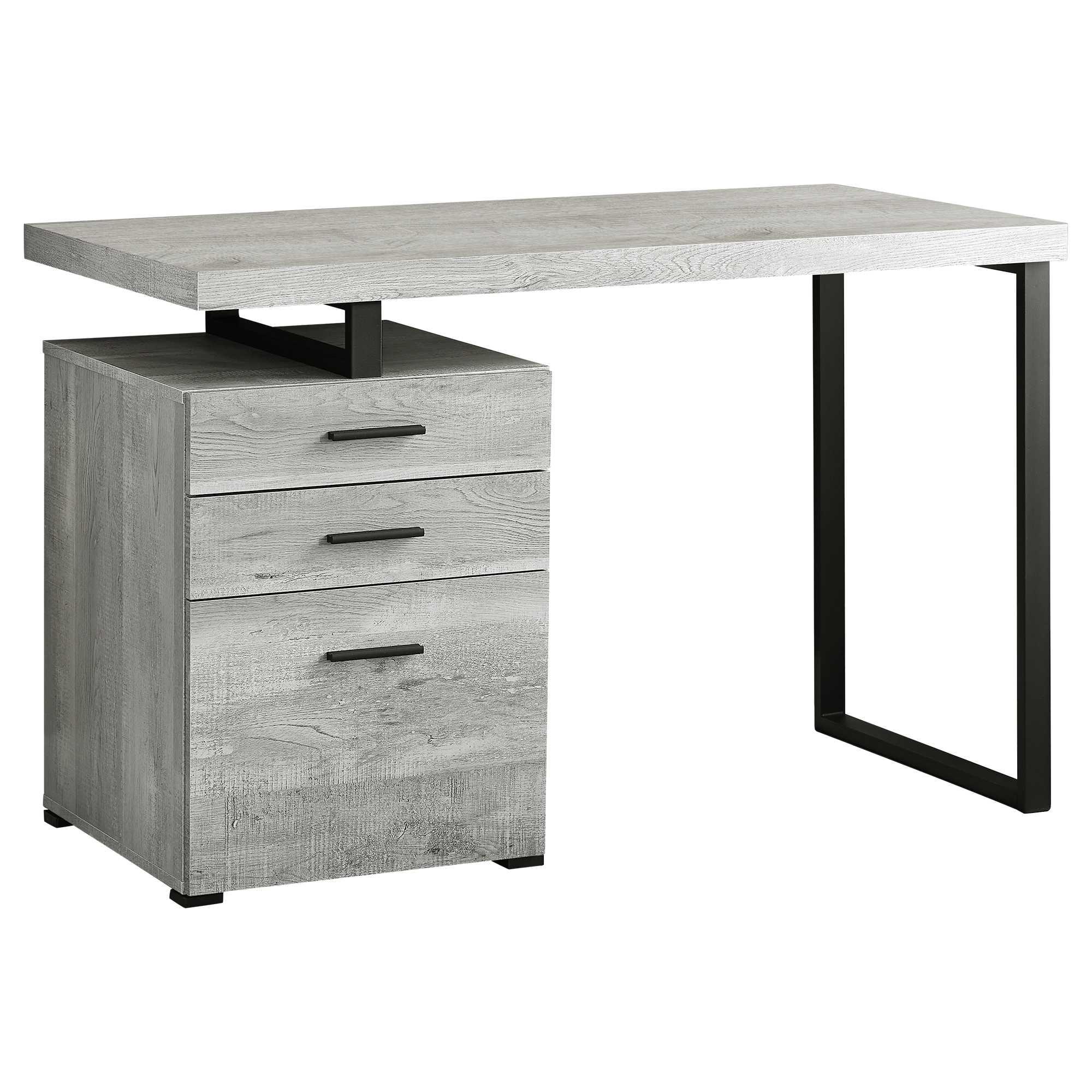 "23.75"" x 47.25"" x 30"" Grey Black Particle Board Hollow Core Metal  Computer Desk"