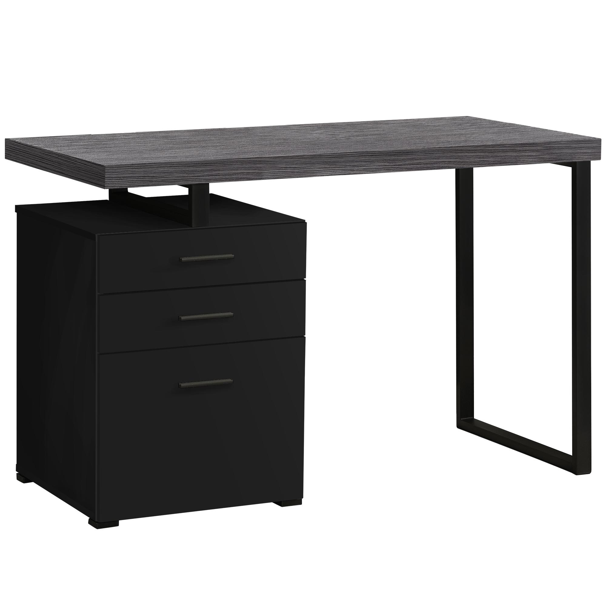 "23.75"" x 47.25"" x 30"" Black Grey Particle Board Hollow Core Metal  Computer Desk"
