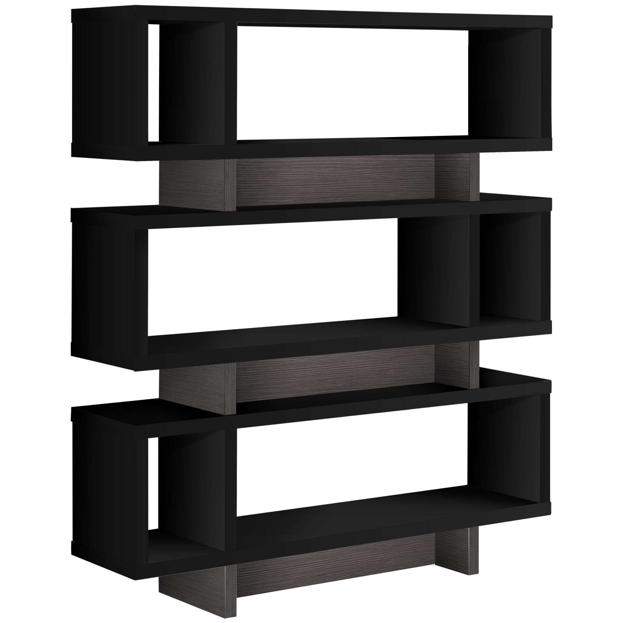 "12"" x 47.25"" x 54.75"" Black Grey Particle Board Hollow Core  Bookcase"