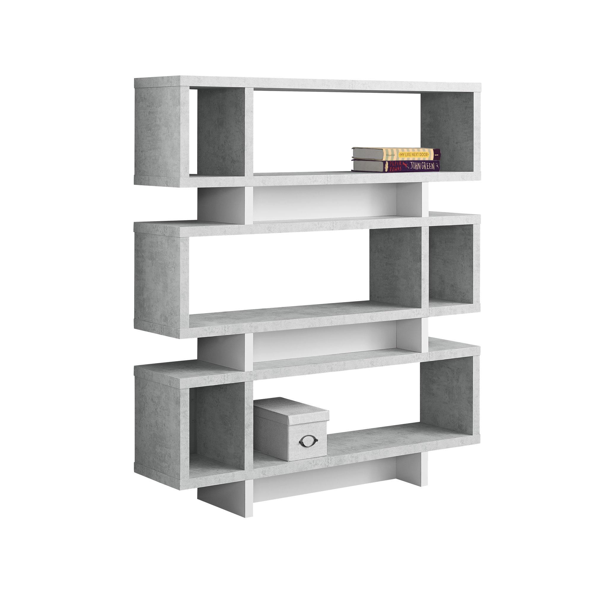 "12"" x 47.25"" x 54.75"" Grey White Particle Board Hollow Core  Bookcase"