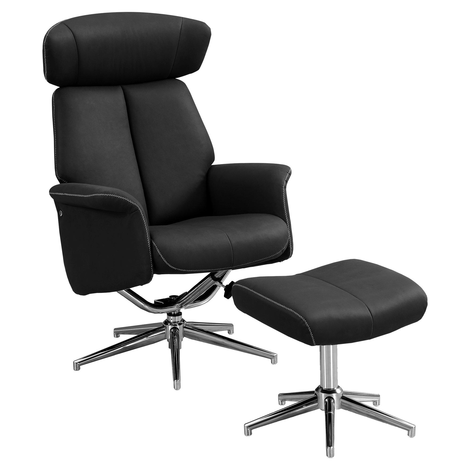 "44"" x 47"" x 59"" Black Finish Foam and Metal Swivel Reclining Chair with Adjustable Headrest"