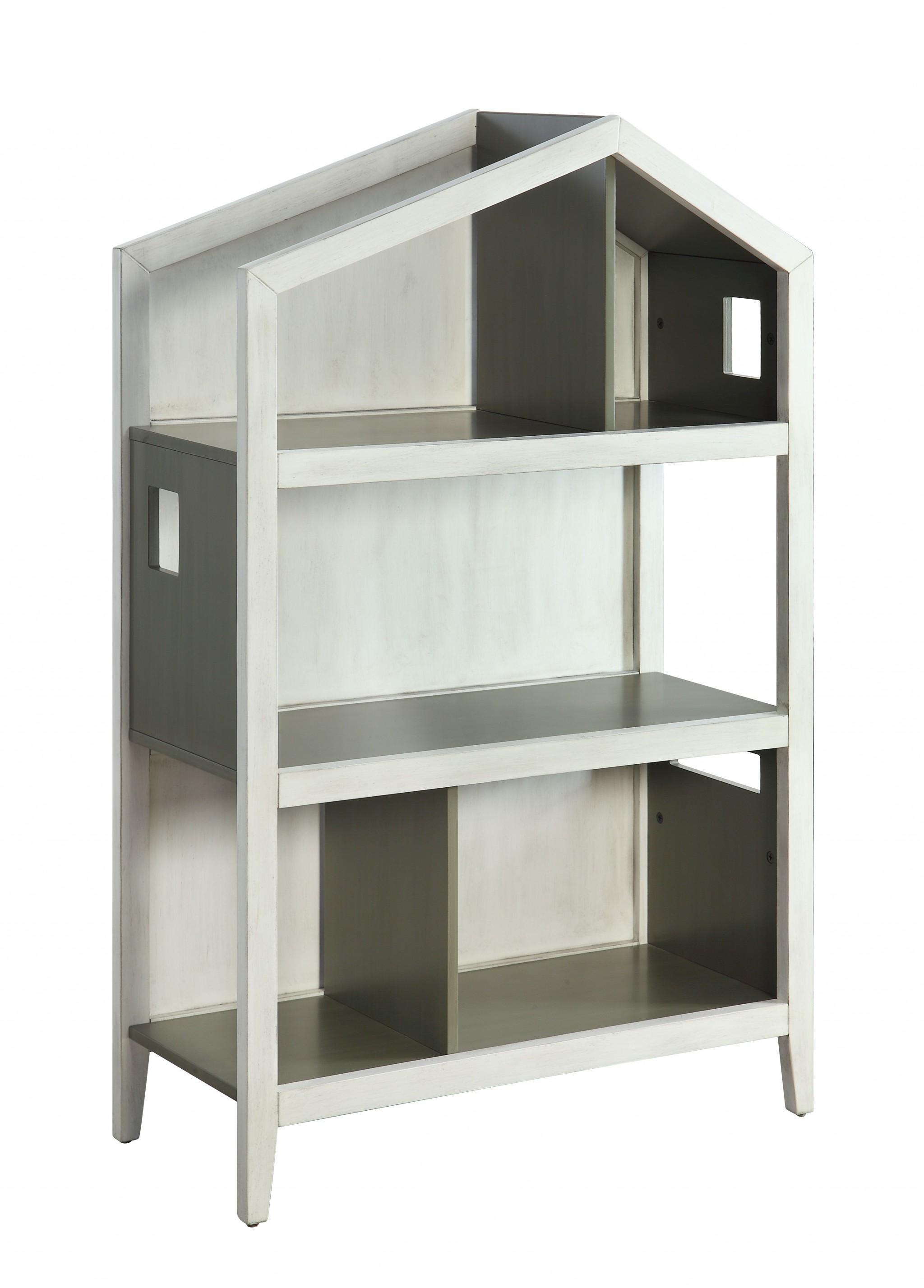 "14"" X 33"" X 50"" Weathered White Washed Gray Wood Bookcase"