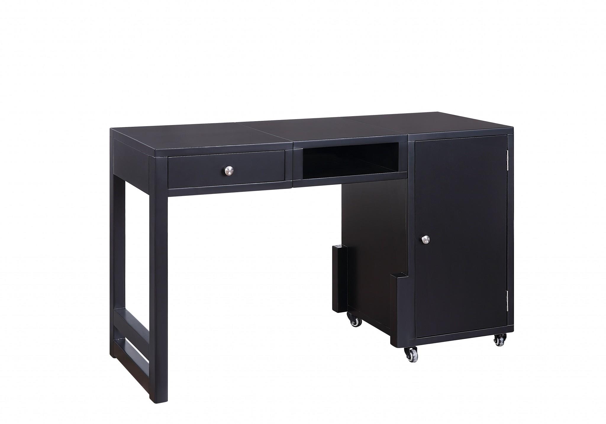 "20"" X 48"" X 30"" Black Wood Veneer Desk (Convertible)"