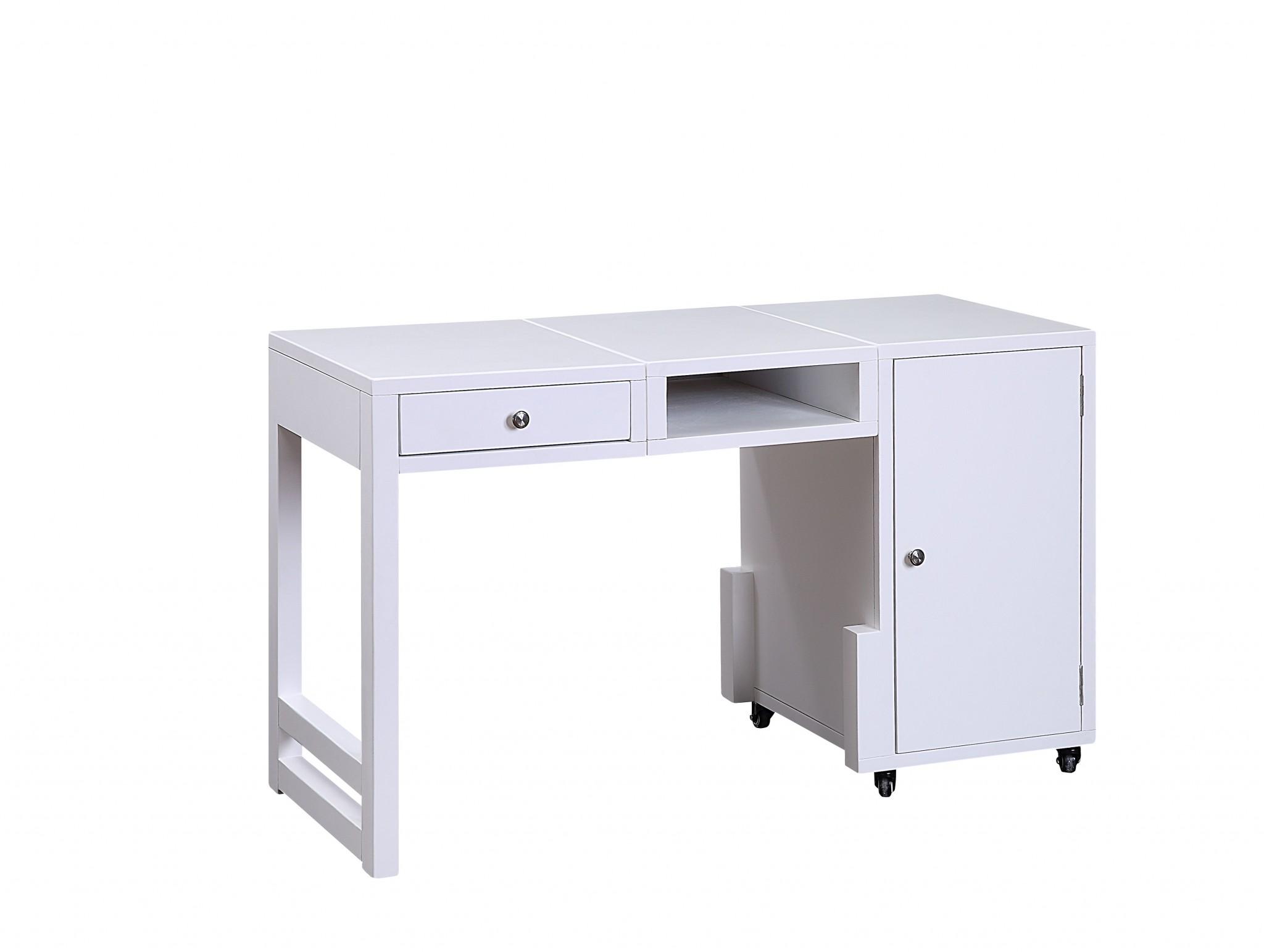 "20"" X 48"" X 30"" White Wood Veneer Desk (Convertible)"