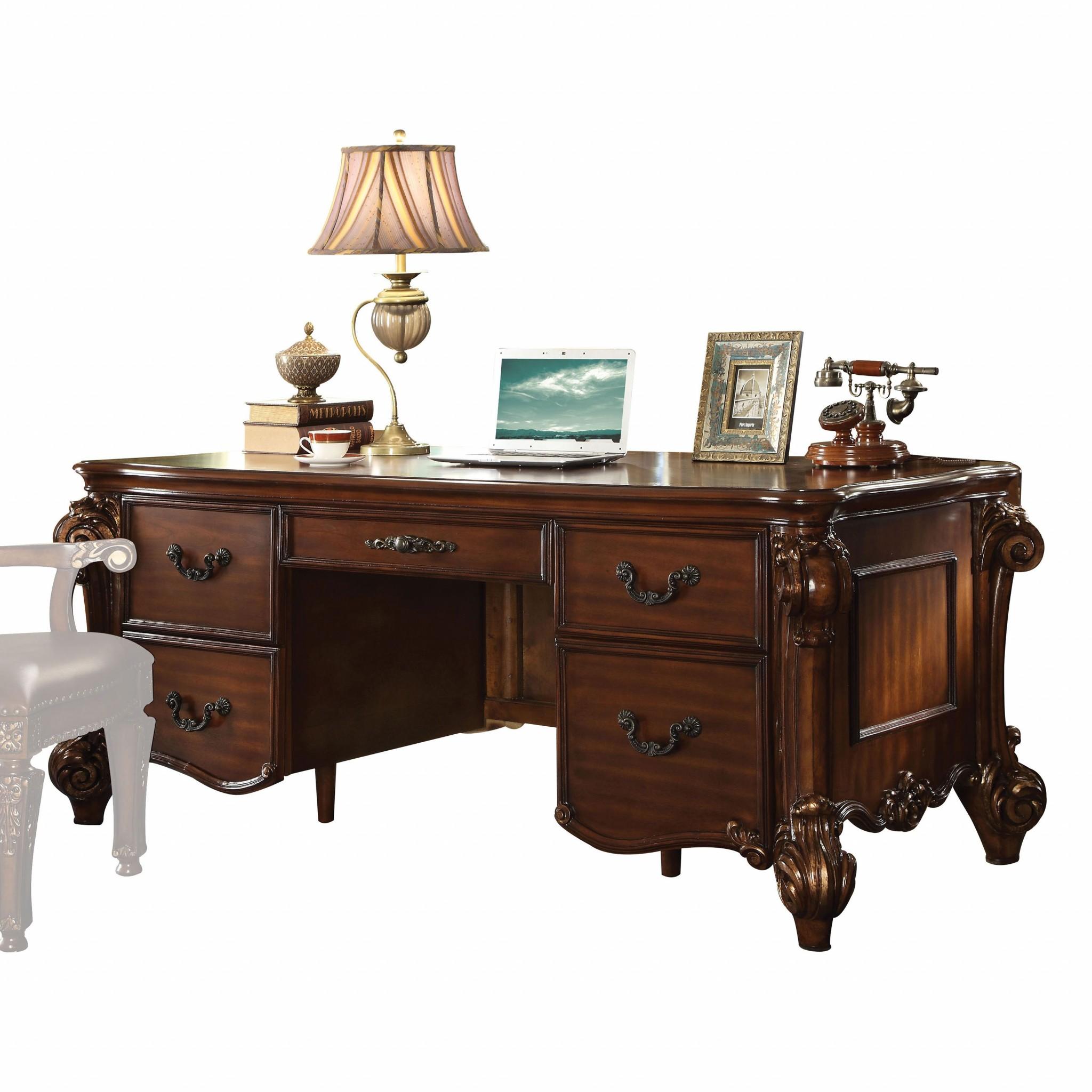 "37"" X 74"" X 31"" Cherry Wood Poly Resin Executive Desk"