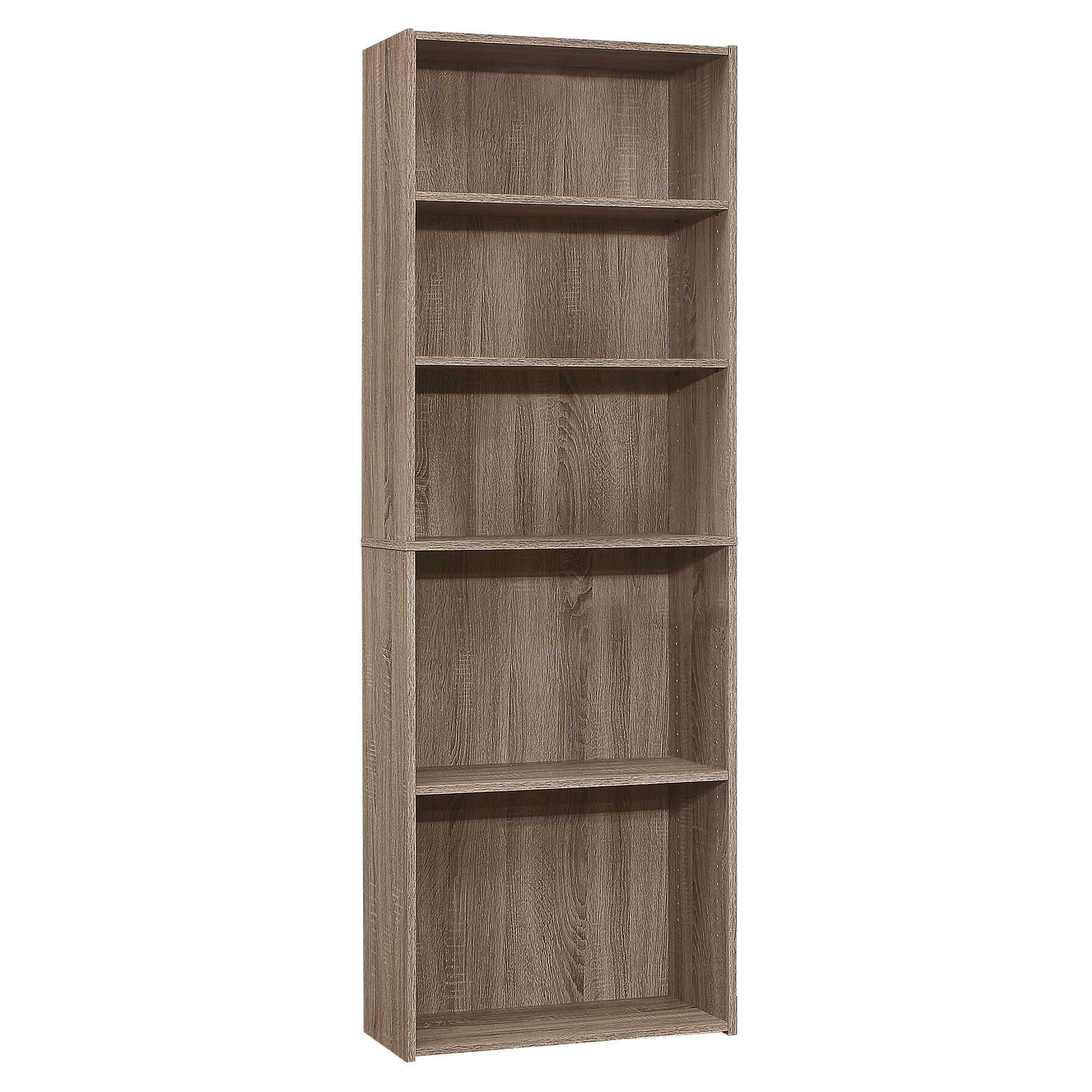 "11.75"" x 24.75"" x 71.25"" Dark Taupe 5 Shelves  Bookcase"