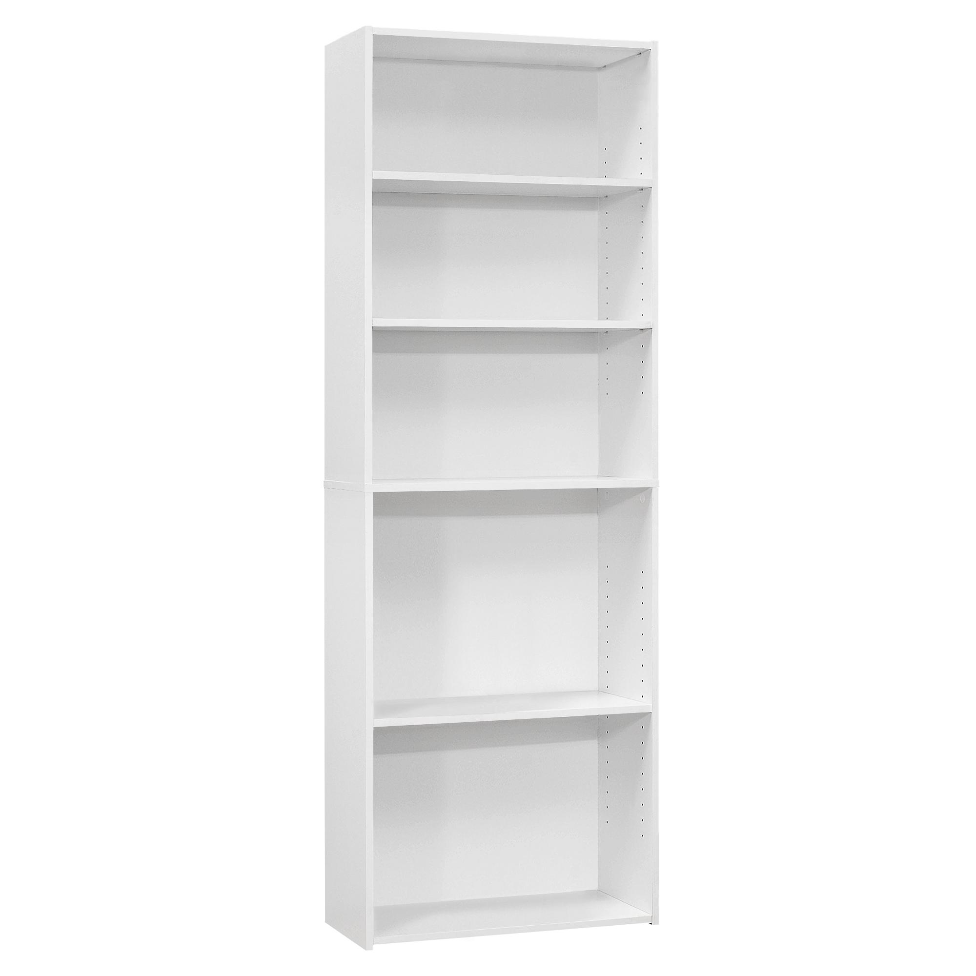 """11.75"""" x 24.75"""" x 71.25"""" White 5 Shelves  Bookcase"""