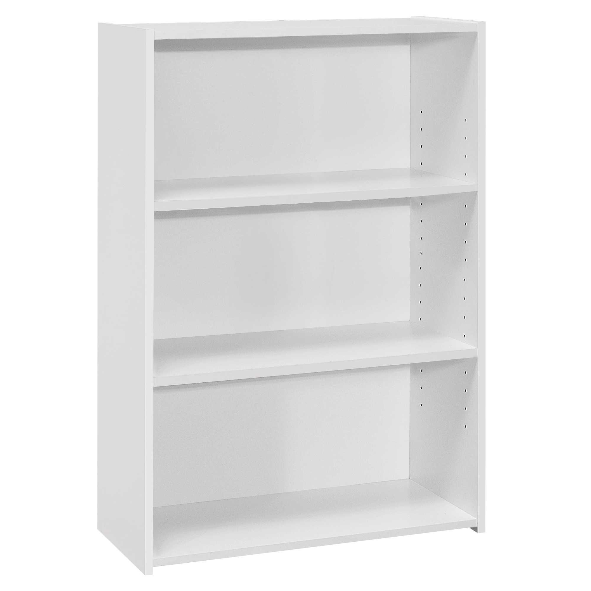 """11.75"""" x 24.75"""" x 35.5"""" White 3 Shelves  Bookcase"""