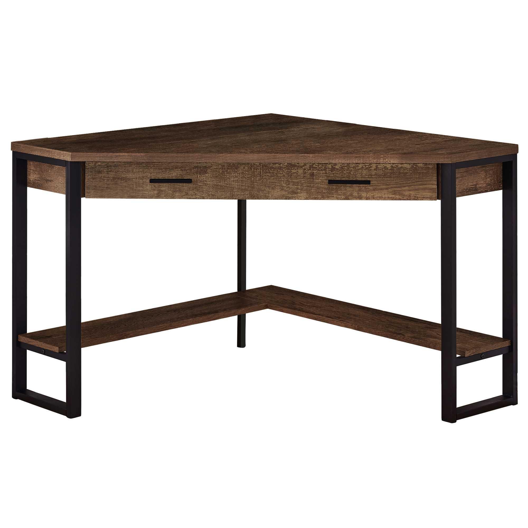 """42"""" x 42"""" x 30"""" Brown  Reclaimed Wood Corner  Computer Desk"""