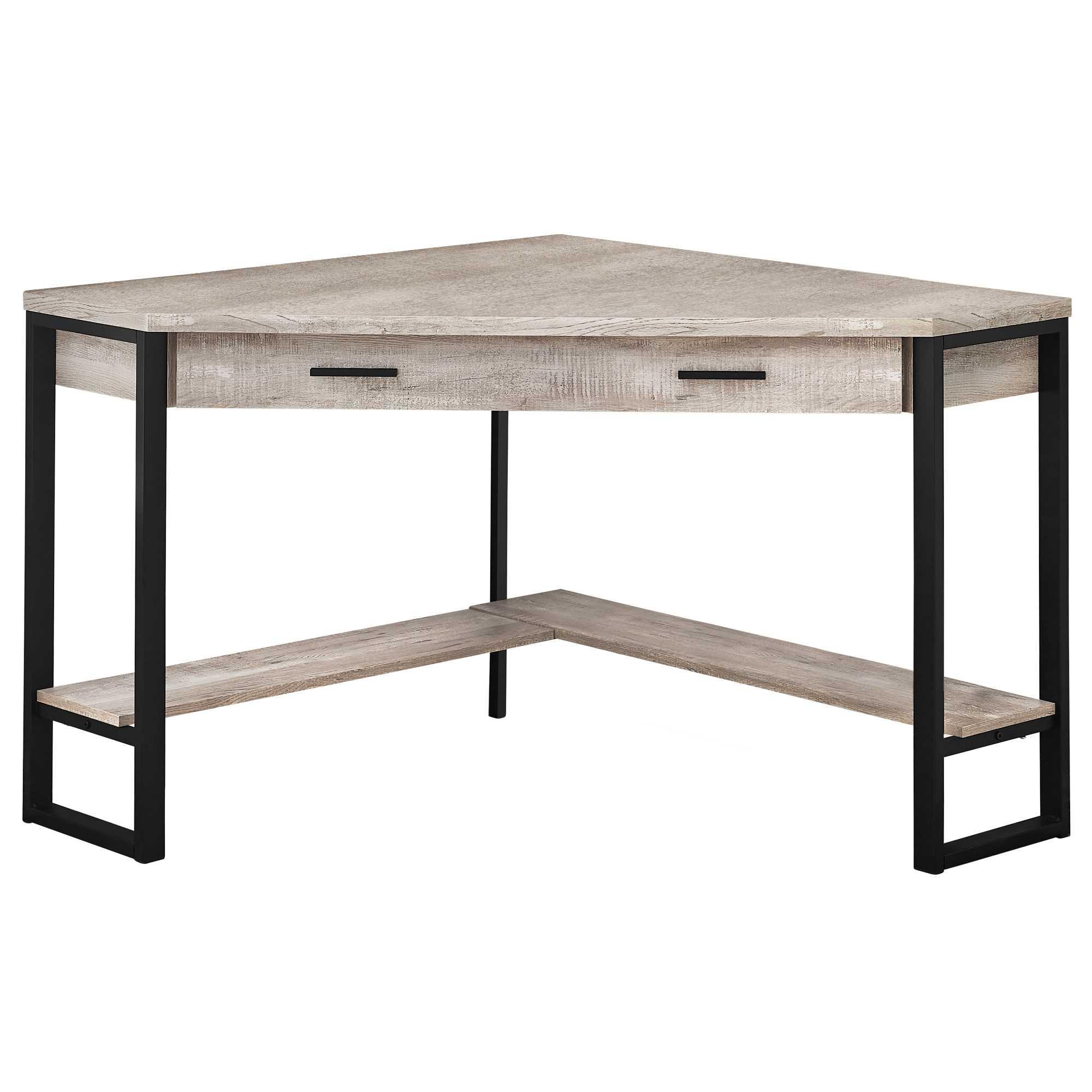 "42"" x 42"" x 30"" Taupe  Reclaimed Wood Corner  Computer Desk"