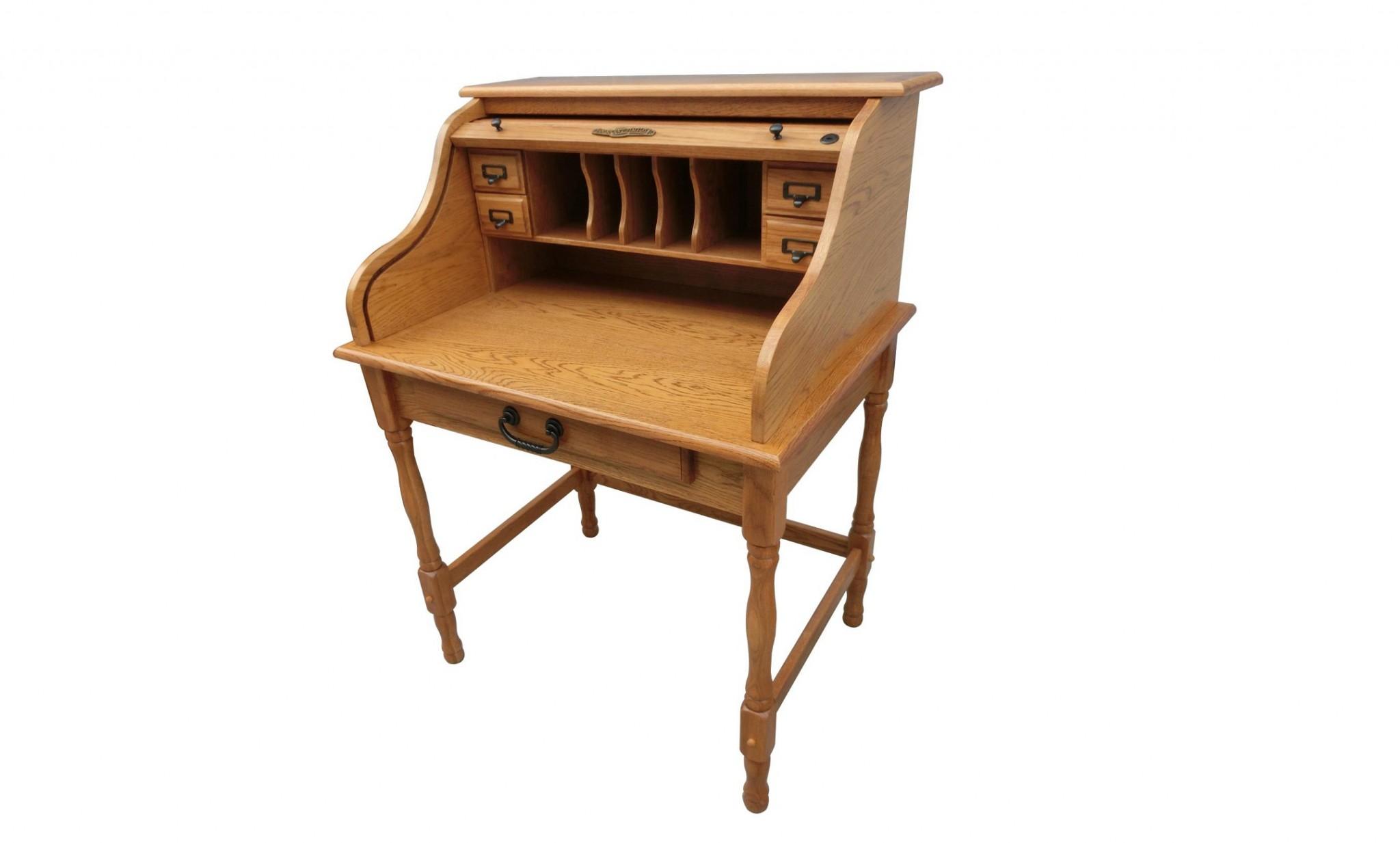 "32"" X 24"" X 44.5"" Harvest Oak Hardwood Mini Roll Top Desk"