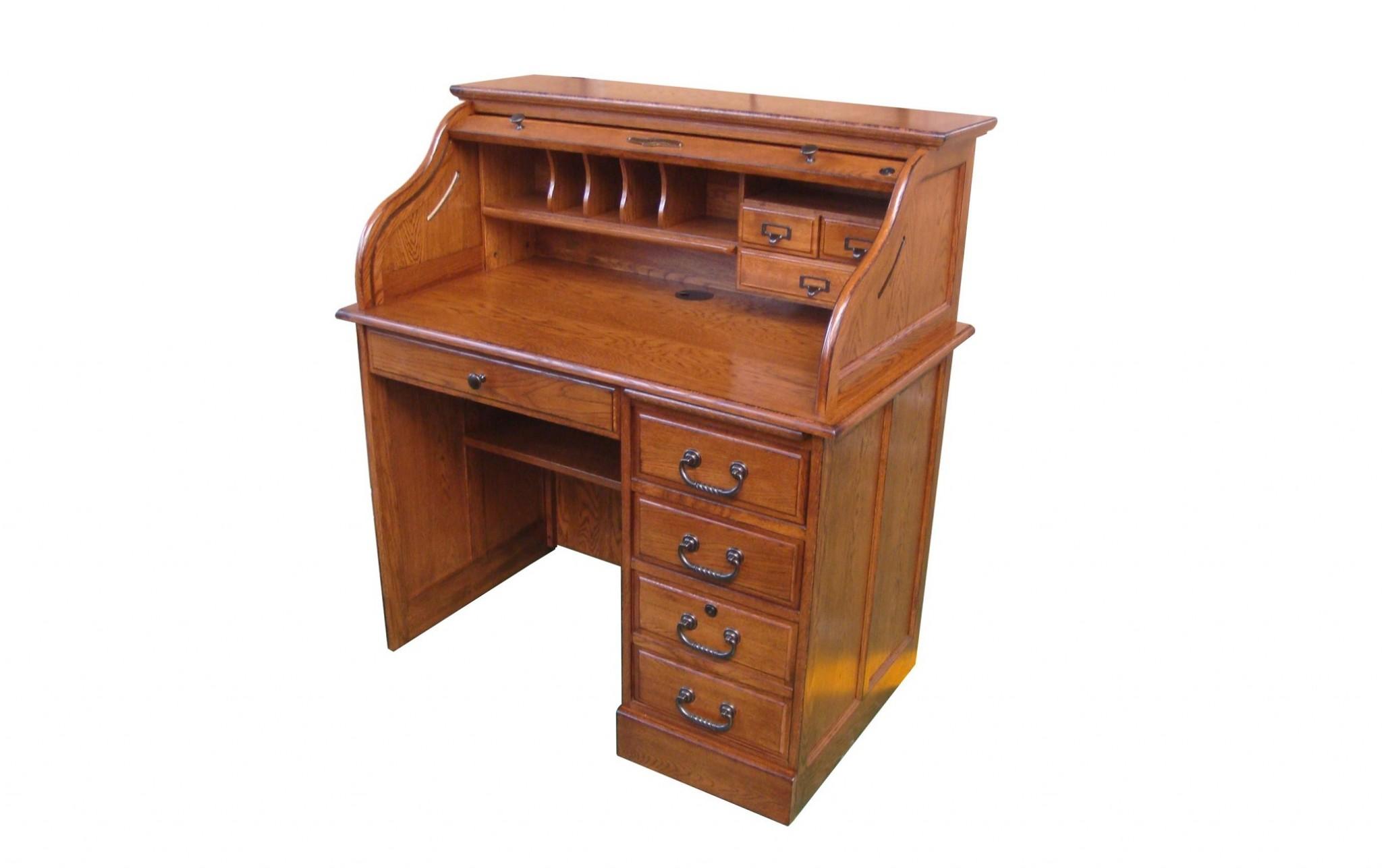 """40.5"""" X 24"""" X 45"""" Burnished Walnut Hardwood Student Roll Top Desk"""