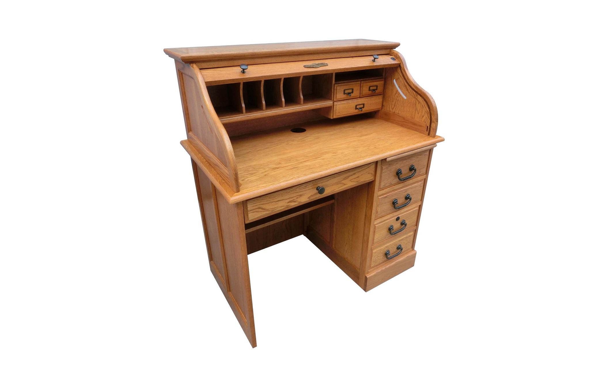 "40.5"" X 24"" X 45"" Harvest Oak Hardwood Student Roll Top Desk"